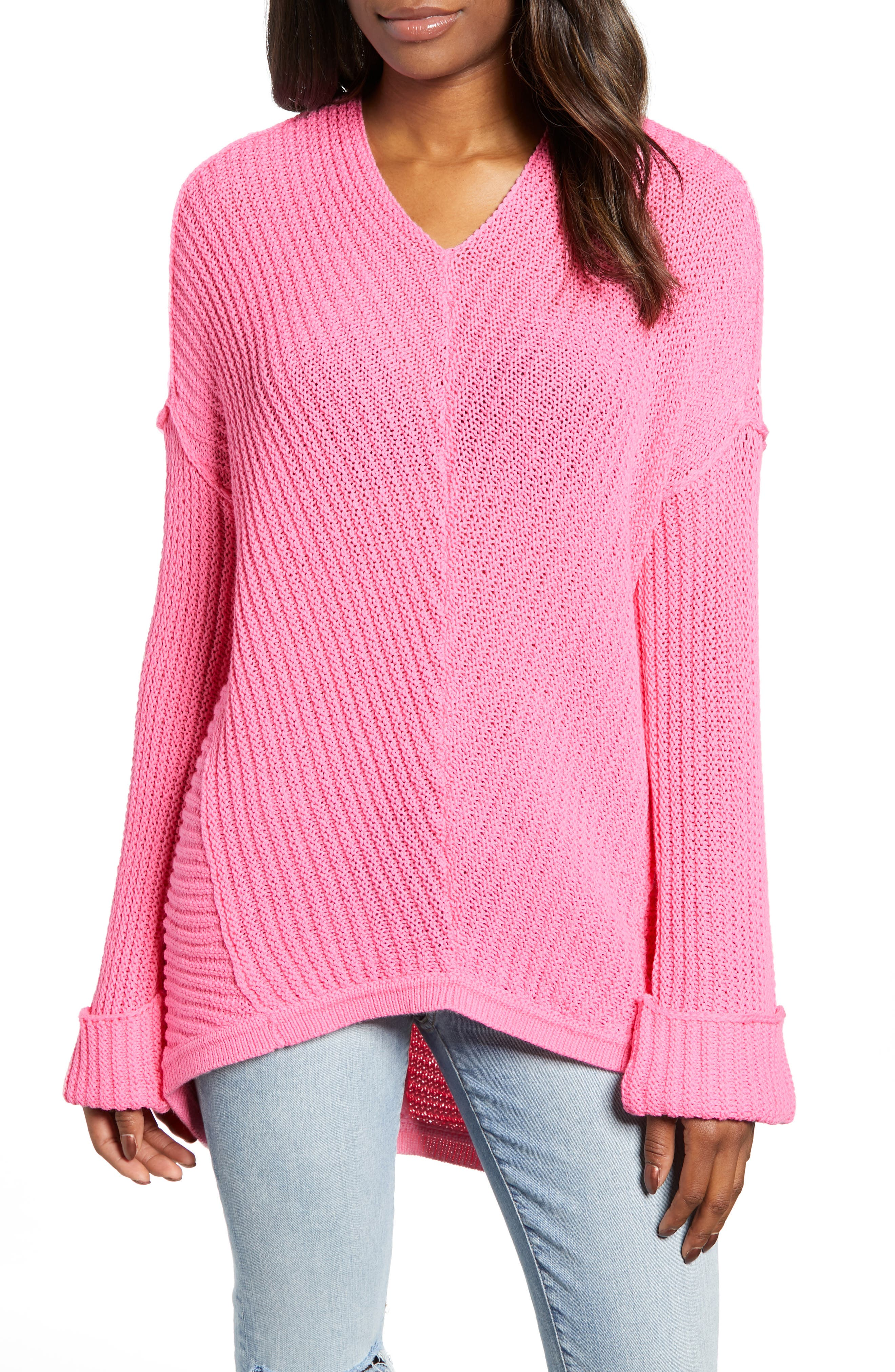 CASLON<SUP>®</SUP> Cuffed Sleeve Sweater, Main, color, PINK SACHET