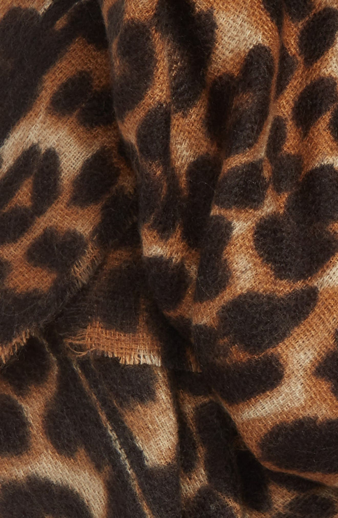 SOLE SOCIETY, Leopard Print Blanket Scarf, Alternate thumbnail 3, color, BROWN COMBO
