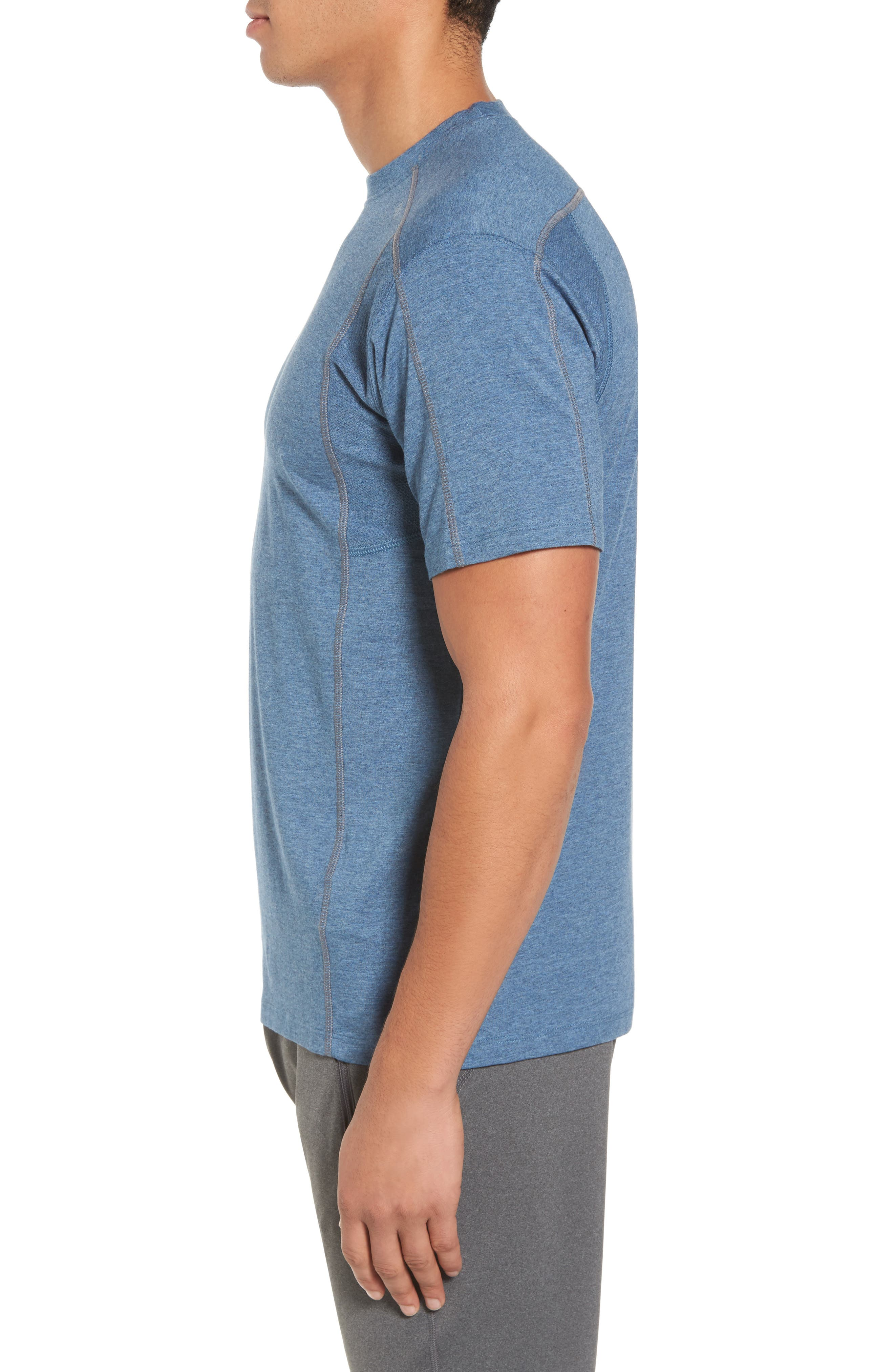 TASC PERFORMANCE, Charge Semi-Fitted T-Shirt, Alternate thumbnail 3, color, INDIGO HEATHER