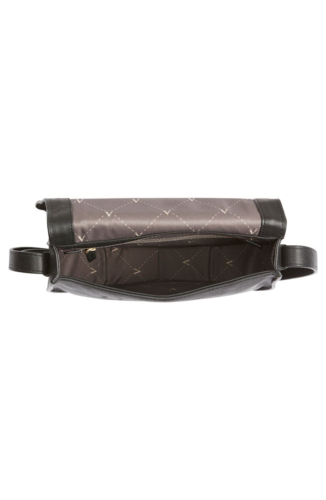 VINCE CAMUTO, 'Izzi' Tassel Leather & Suede Crossbody Bag, Alternate thumbnail 4, color, 001