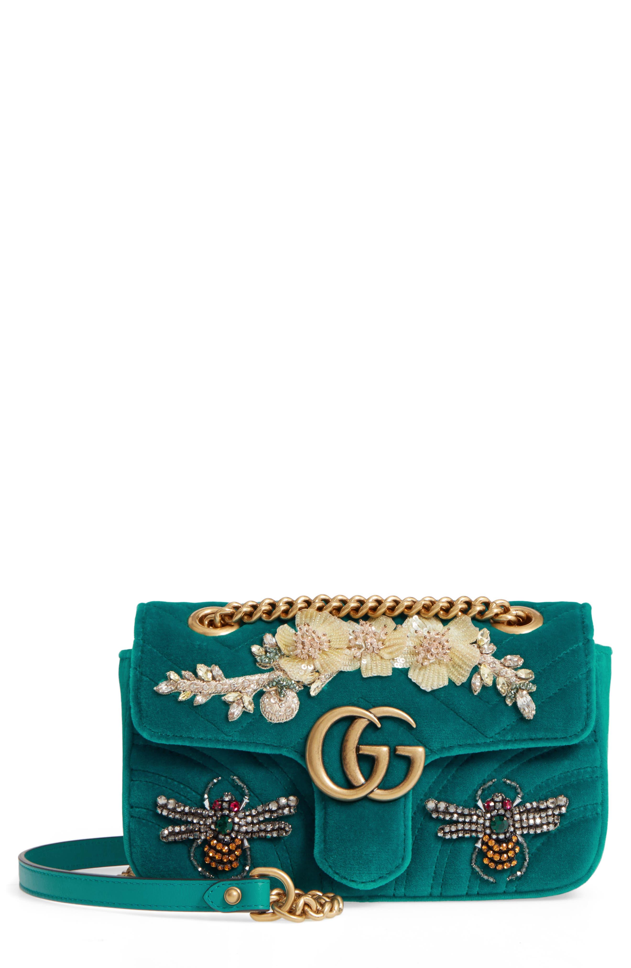 GUCCI Mini GG Marmont Matelassé Velvet Shoulder Bag, Main, color, PIVONE
