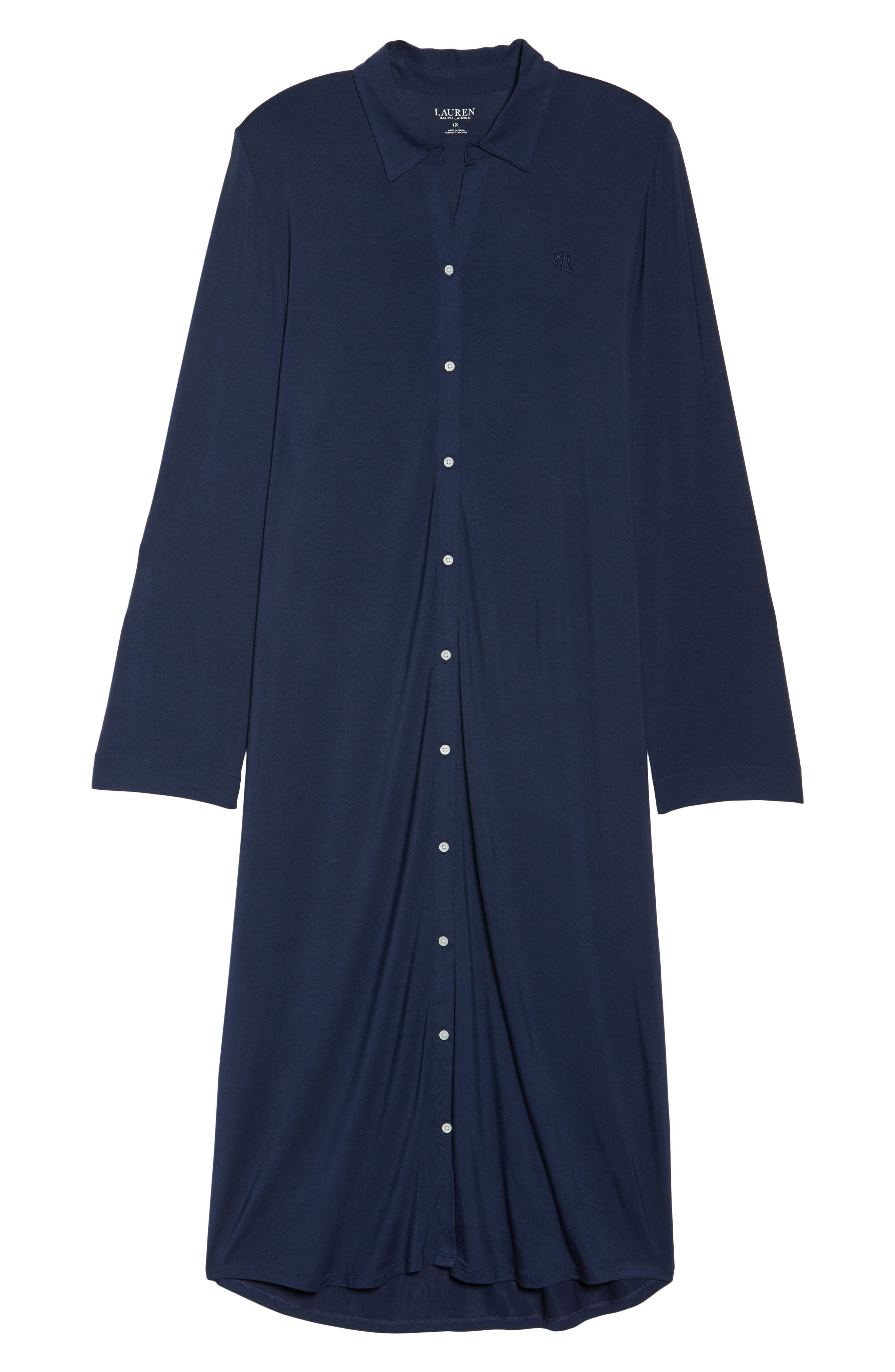 LAUREN RALPH LAUREN, Long Nightshirt, Alternate thumbnail 6, color, SPRING NAVY