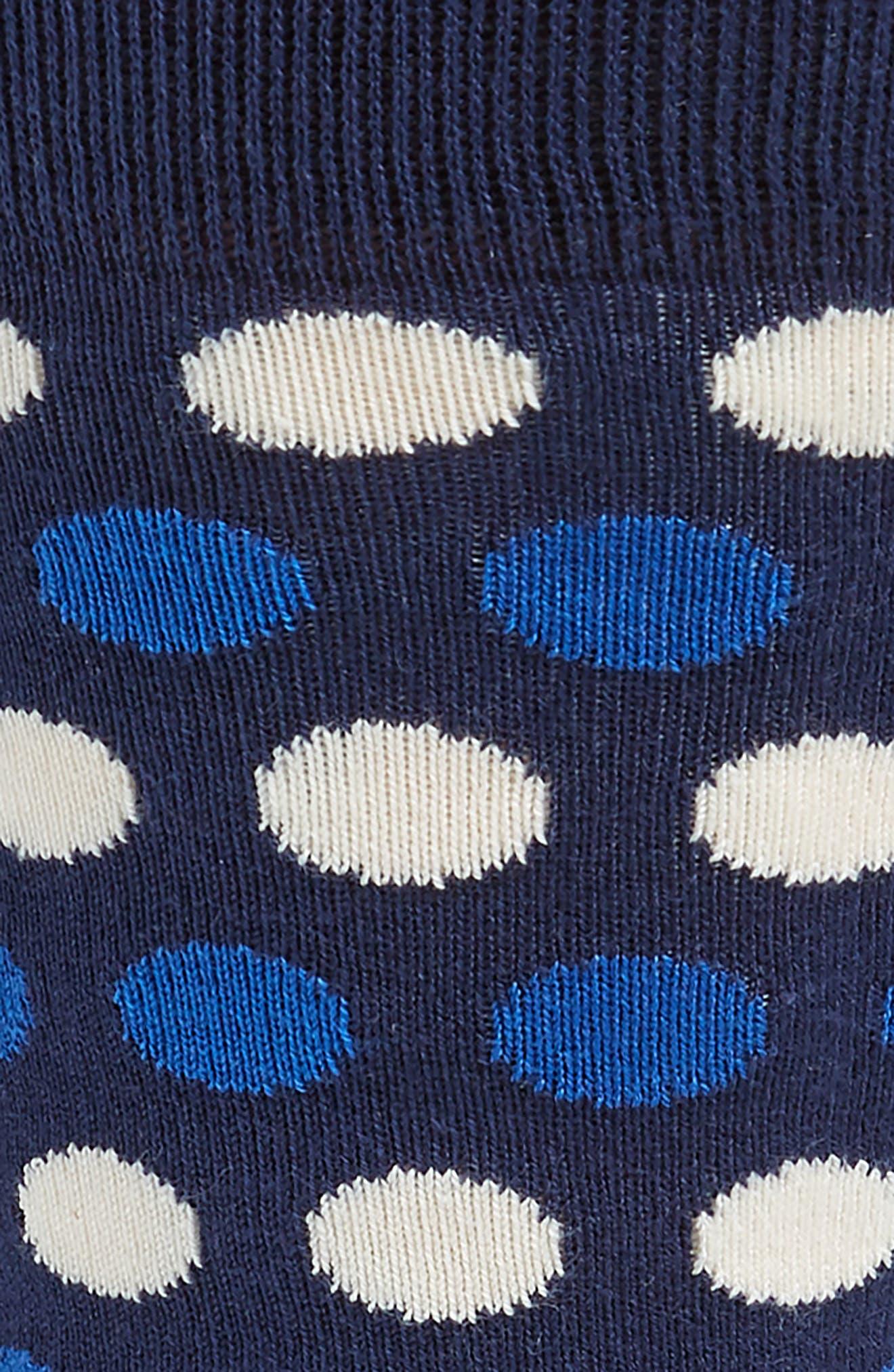 PAUL SMITH, Dot Stripe Socks, Alternate thumbnail 2, color, NAVY