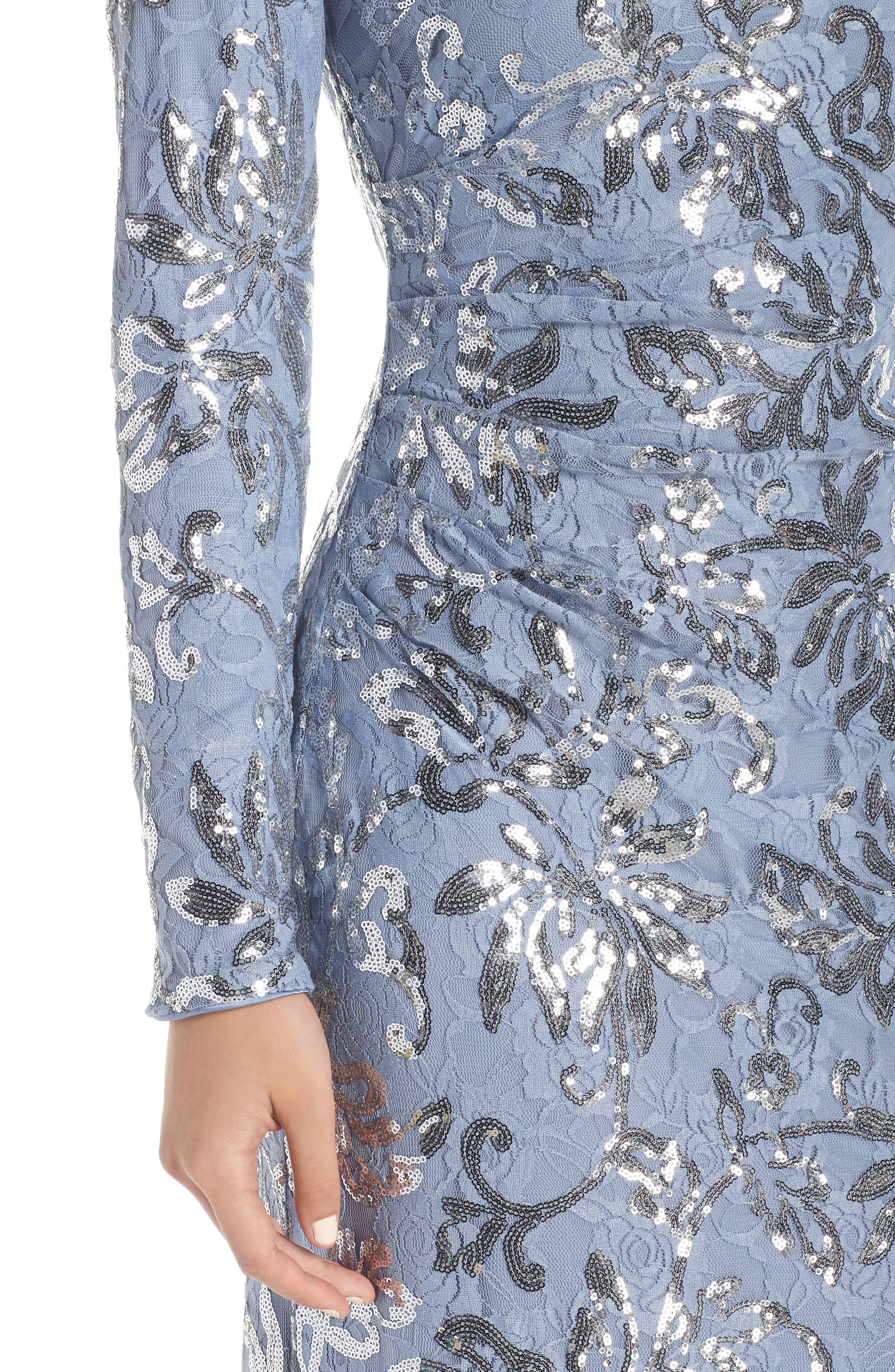 VINCE CAMUTO, Lace & Sequin Evening Dress, Alternate thumbnail 5, color, SKY BLUE