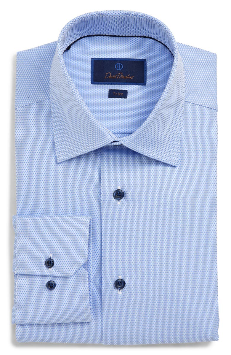 David Donahue Dresses TRIM FIT SOLID DRESS SHIRT