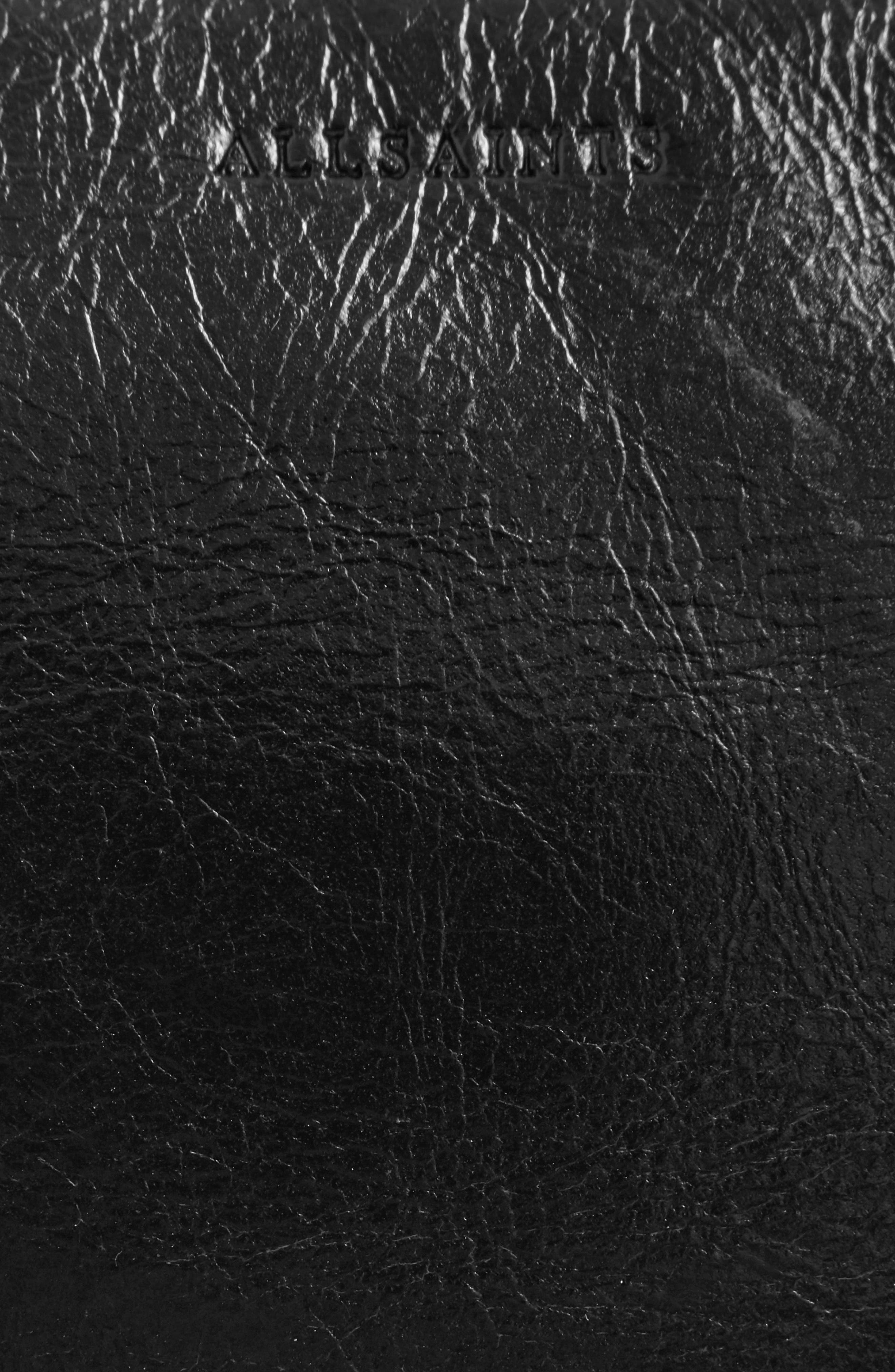ALLSAINTS, Leather Belt Bag, Alternate thumbnail 7, color, 001