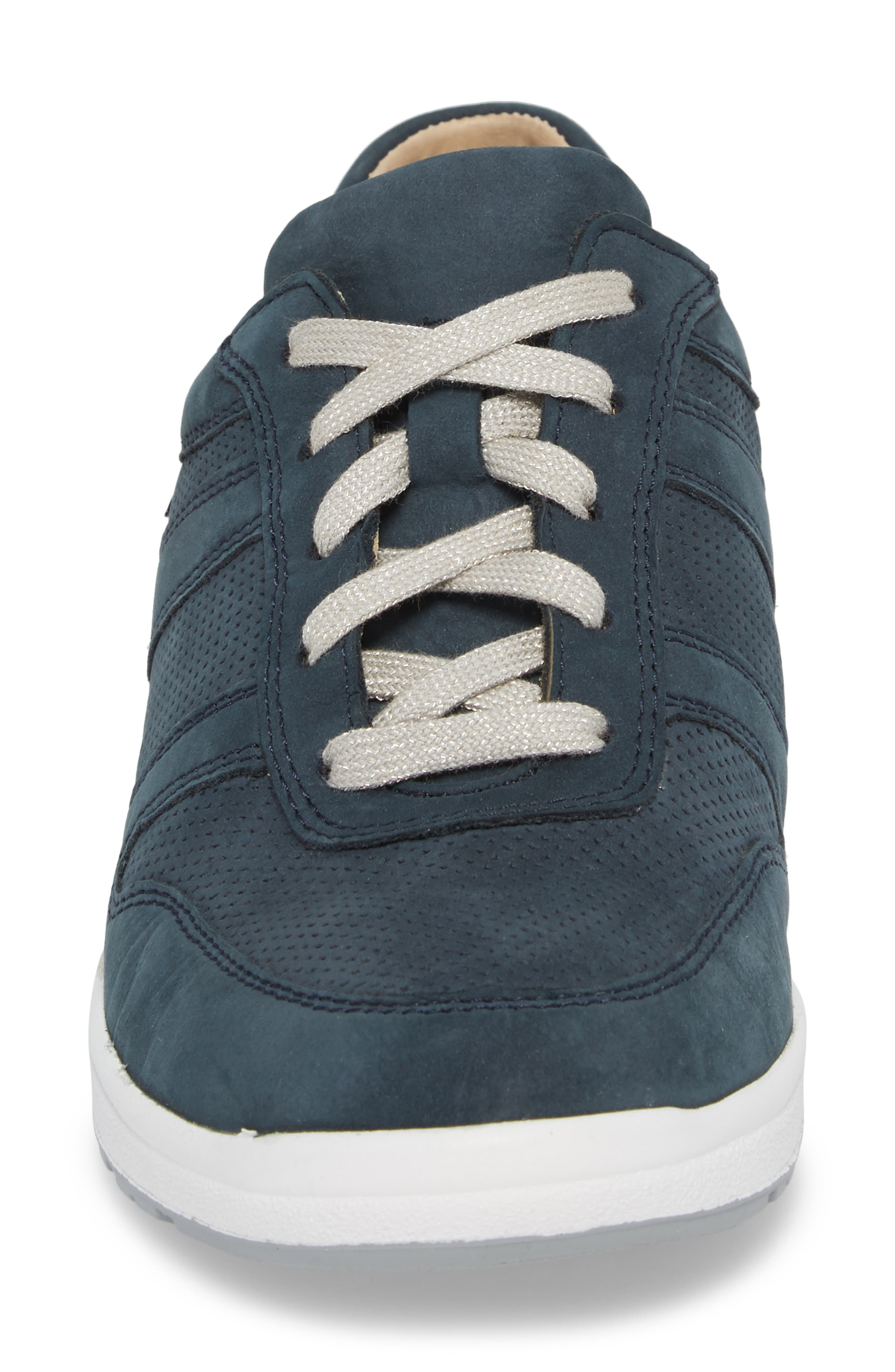 MEPHISTO, Rebecca Perforated Sneaker, Alternate thumbnail 4, color, NAVY