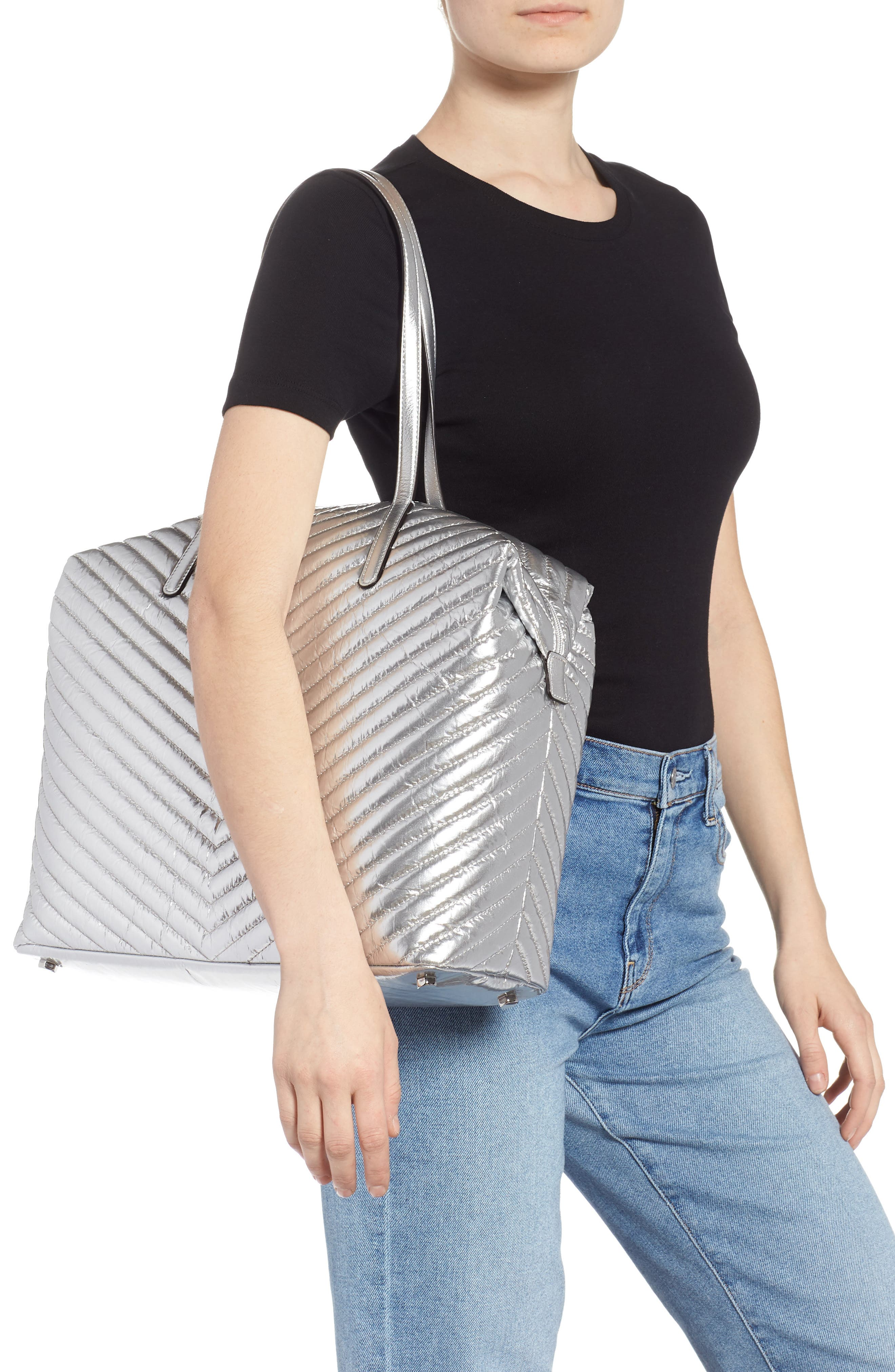 REBECCA MINKOFF, Quilted Nylon Tote, Alternate thumbnail 2, color, 040