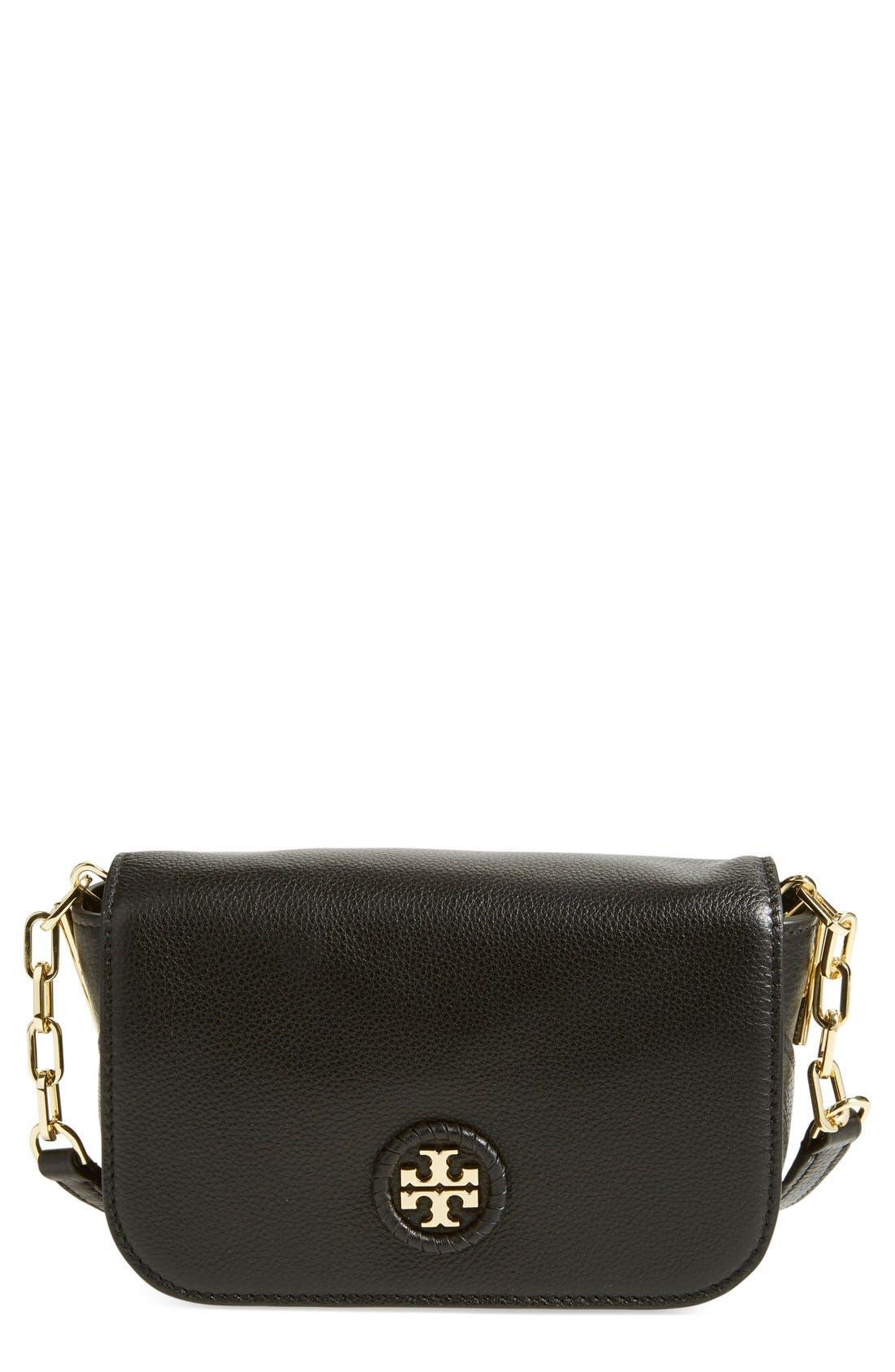 TORY BURCH, Mini Leather Crossbody Bag, Main thumbnail 1, color, 001
