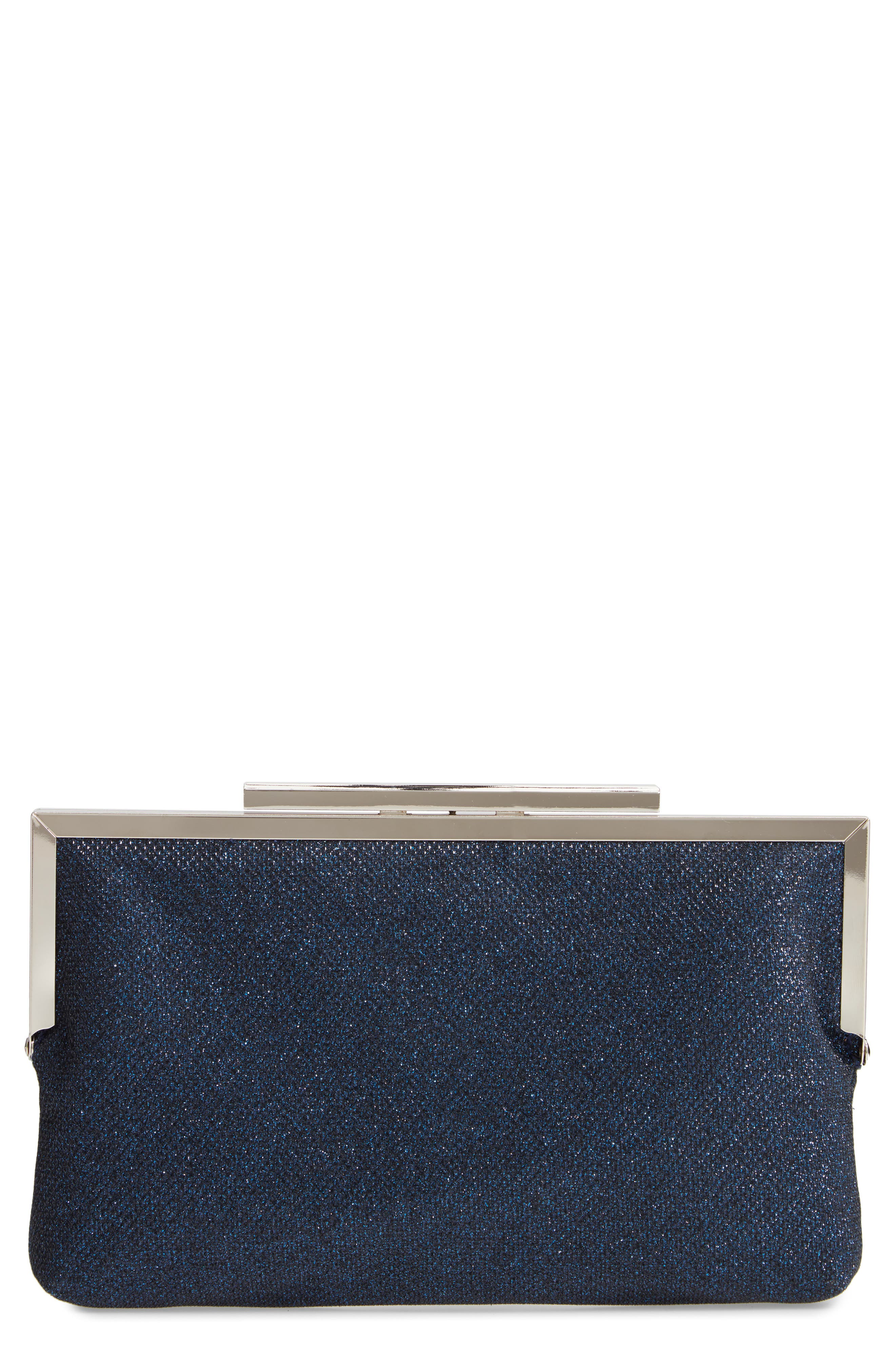 NINA, Louella Metallic Mesh Clutch, Main thumbnail 1, color, NAVY
