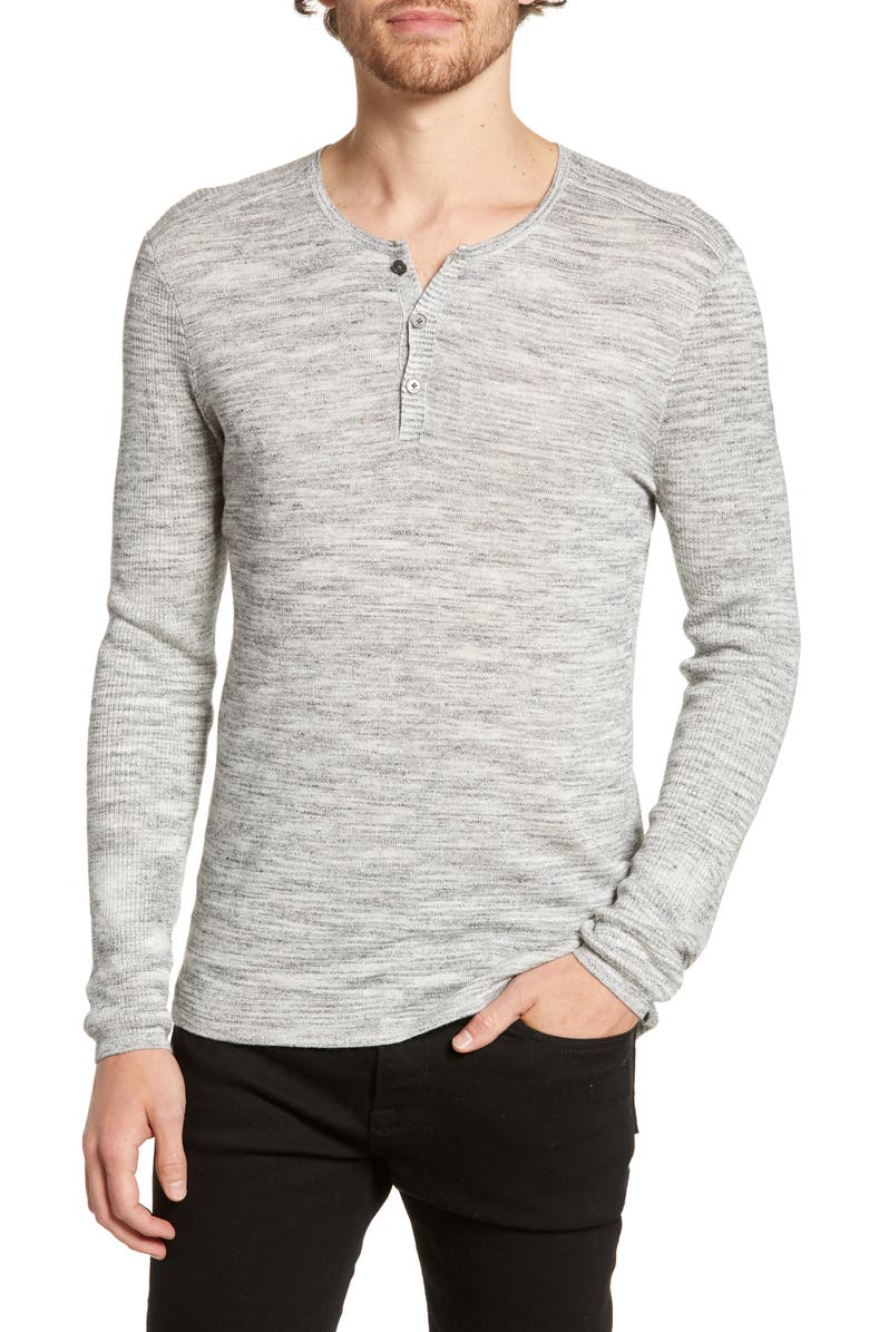 John Varvatos Tops SEAN LONG SLEEVE LINEN BLEND HENLEY