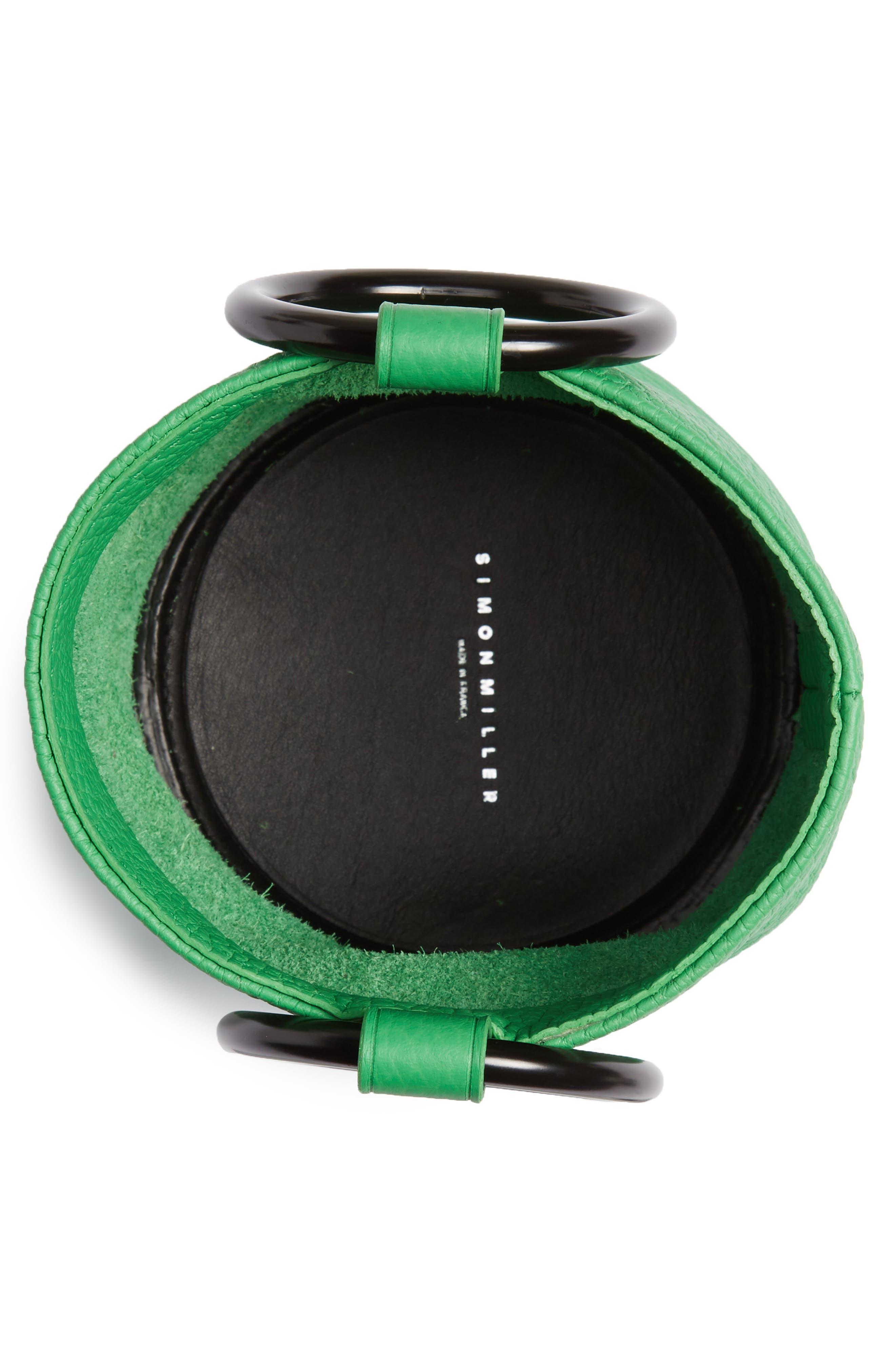 SIMON MILLER, Bonsai 15 Calfskin Leather Bucket Bag, Alternate thumbnail 4, color, NEON GREEN