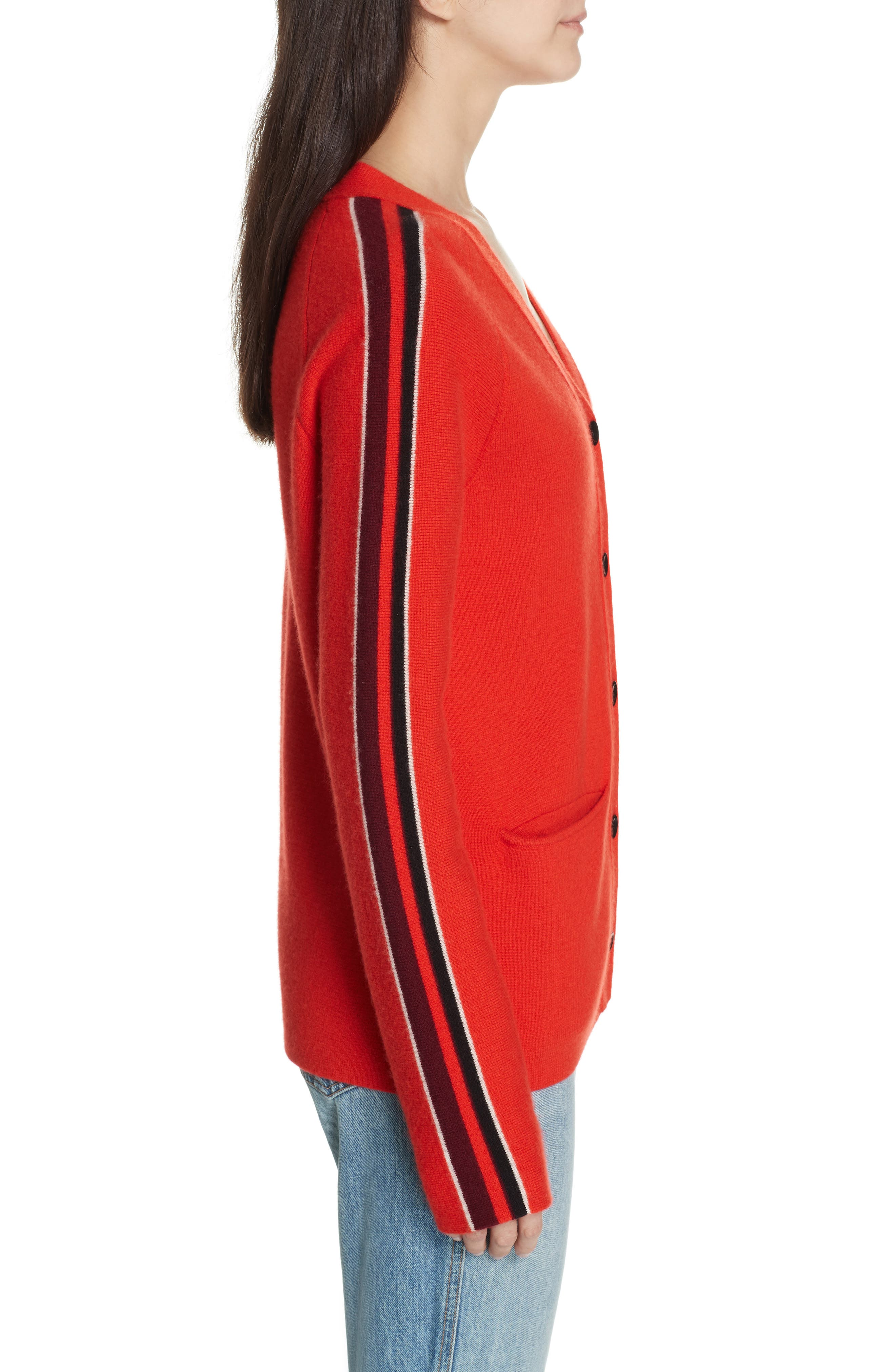 PROENZA SCHOULER, PSWL Stripe Sleeve Merino Wool & Cashmere Cardigan, Alternate thumbnail 3, color, RED COMBO