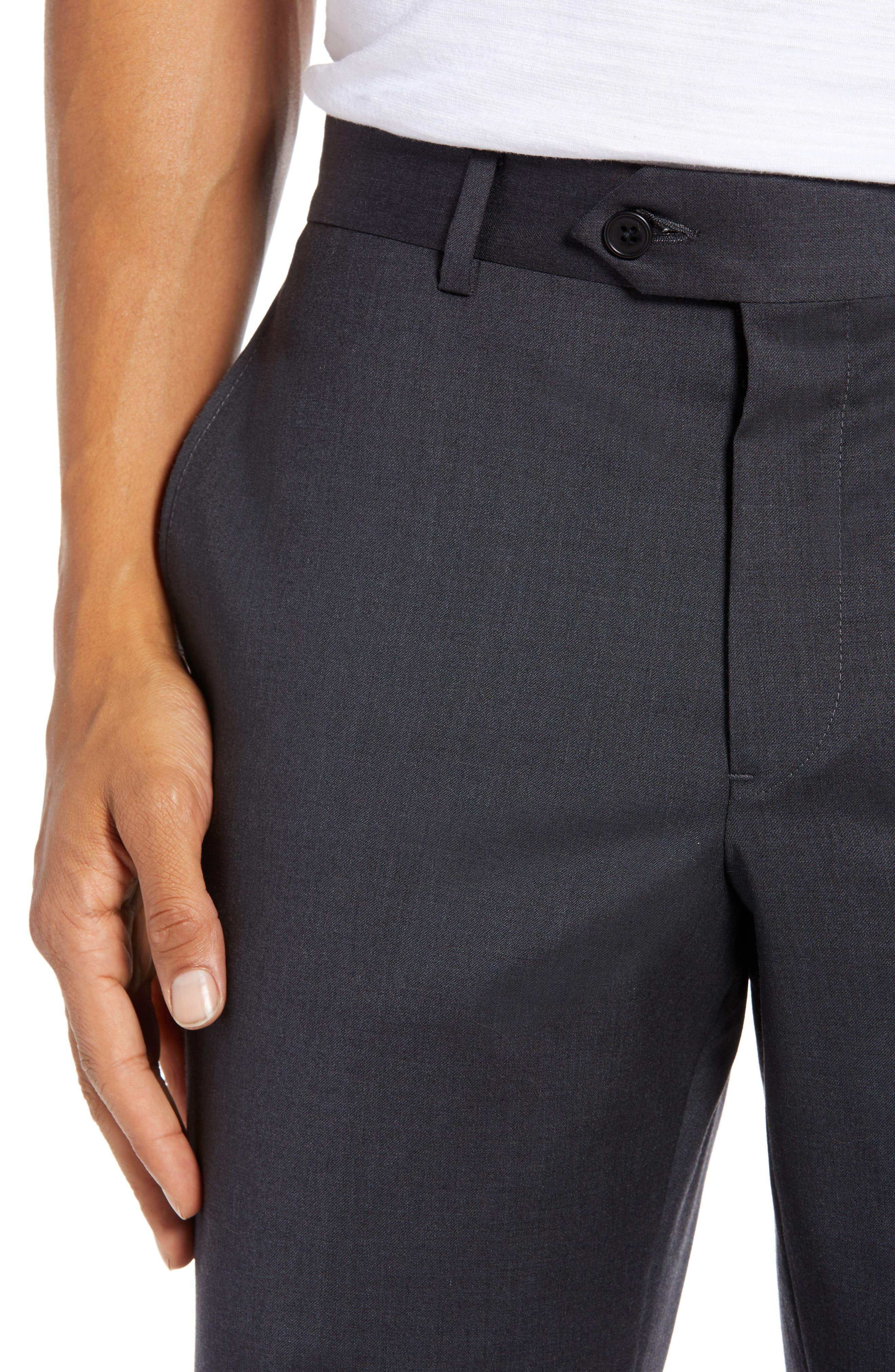 NORDSTROM MEN'S SHOP, Trim Fit Stretch Wool Trousers, Alternate thumbnail 4, color, CHARCOAL