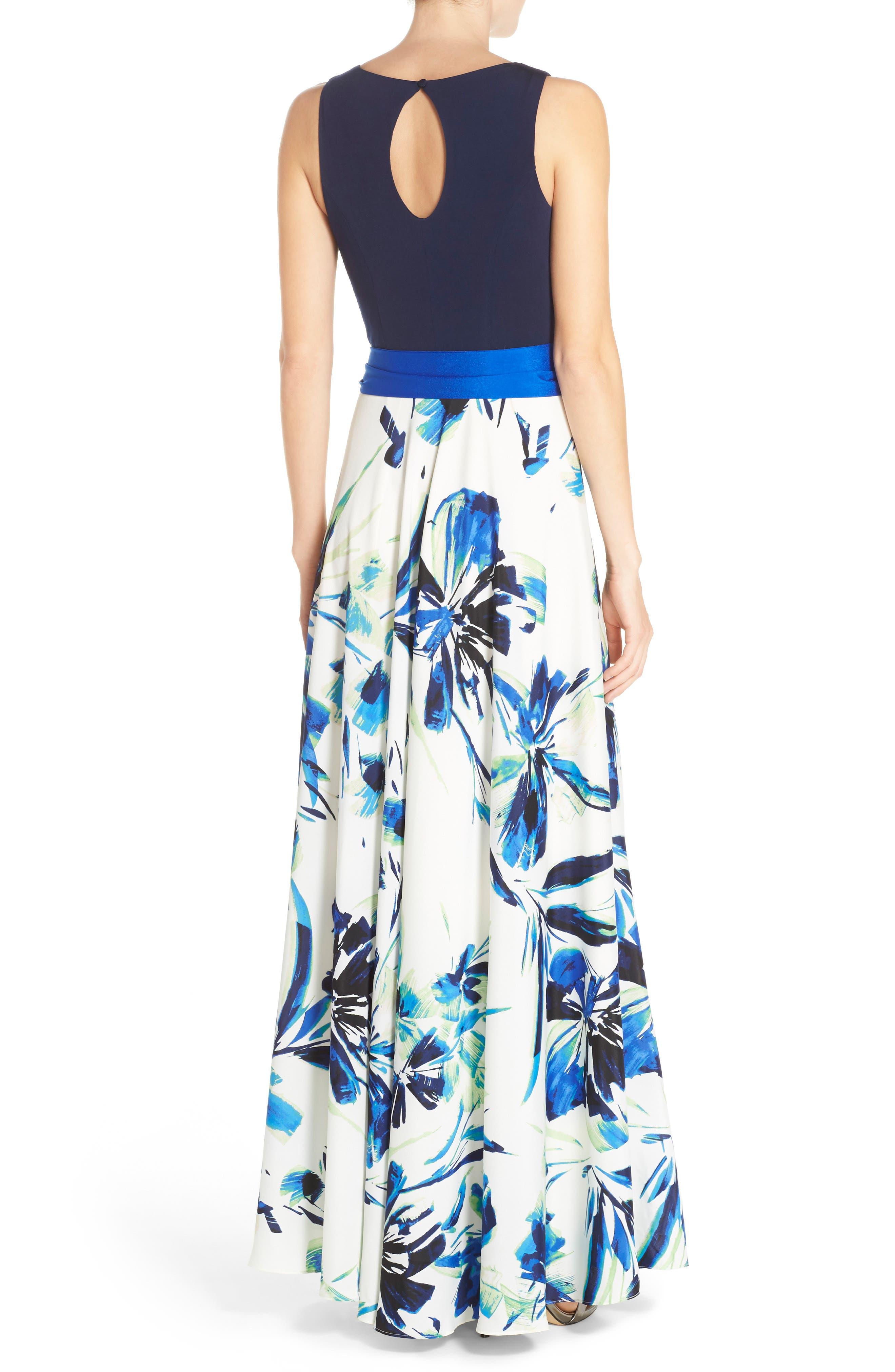 ELIZA J, Jersey & Crêpe de Chine Maxi Dress, Alternate thumbnail 2, color, 421