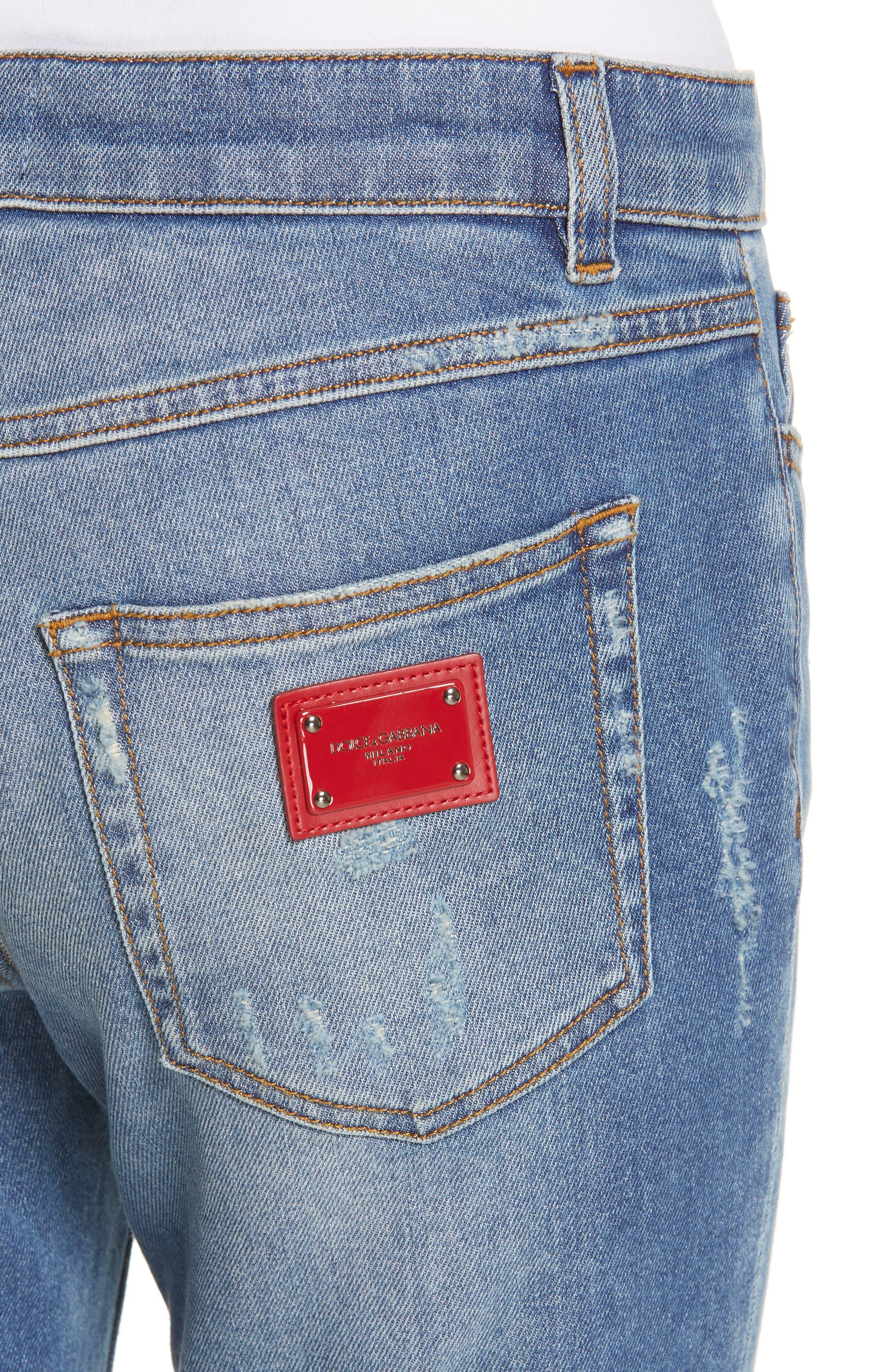 DOLCE&GABBANA, Logo Plaque Skinny Jeans, Alternate thumbnail 4, color, MED BLUE