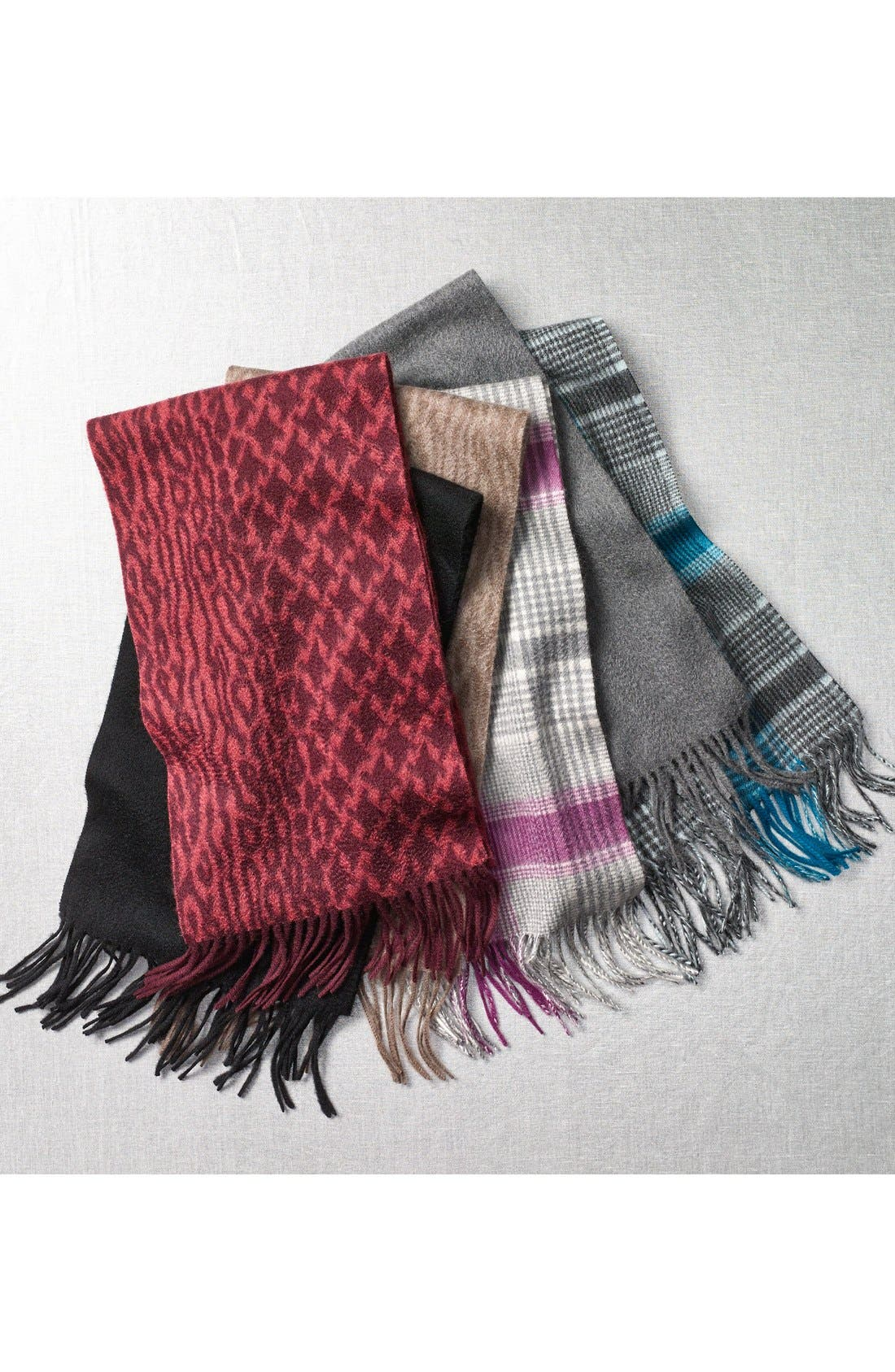 NORDSTROM, Solid Woven Cashmere Scarf, Alternate thumbnail 2, color, 001