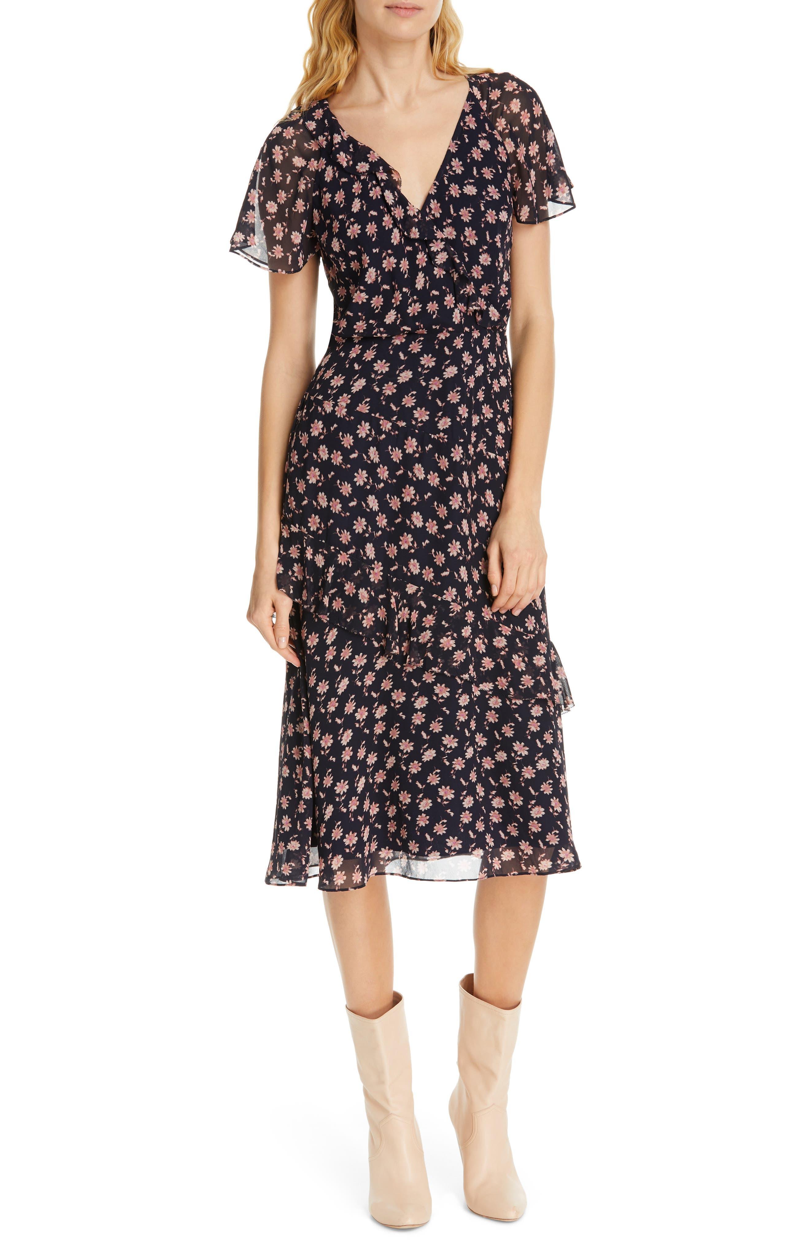 Joie Orita B Floral Silk Midi Dress, Blue