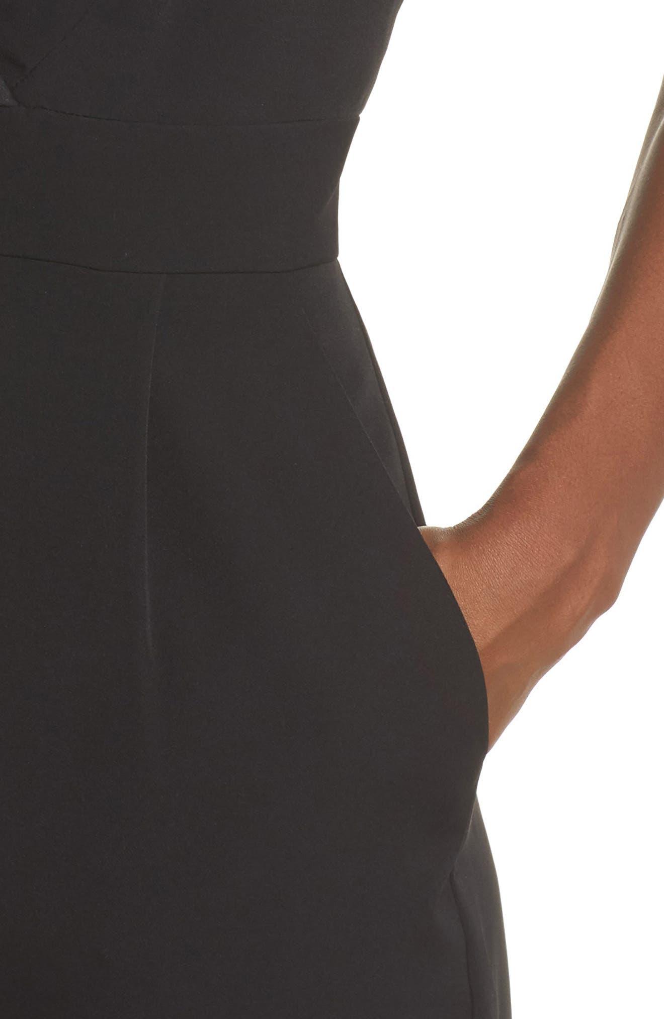 ELIZA J, Tuxedo Jumpsuit, Alternate thumbnail 5, color, BLACK