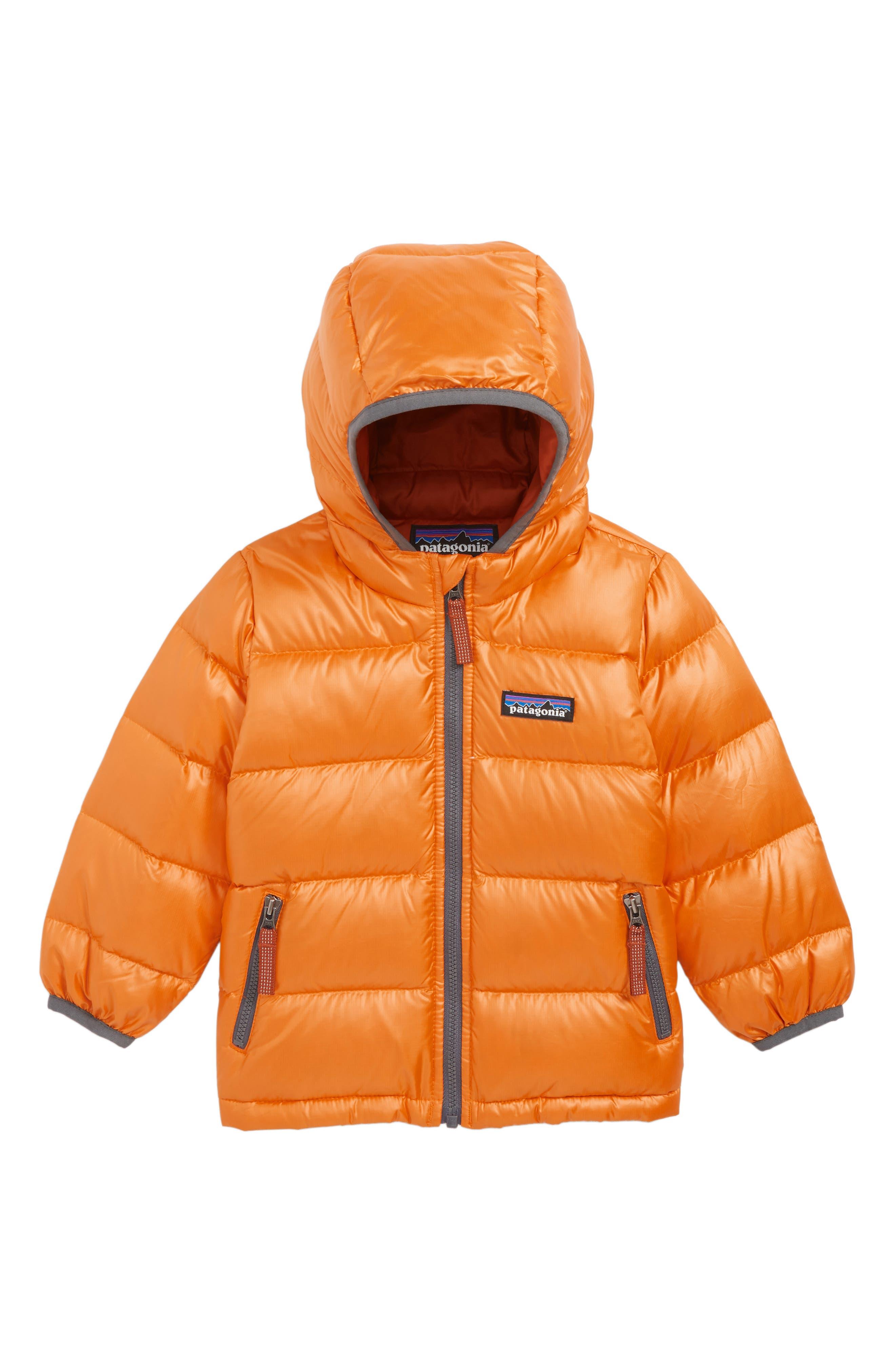 Infant Boys Patagonia HiLoft WaterRepellent 600Fill Power Down Sweater Hoodie Size 612M  Orange