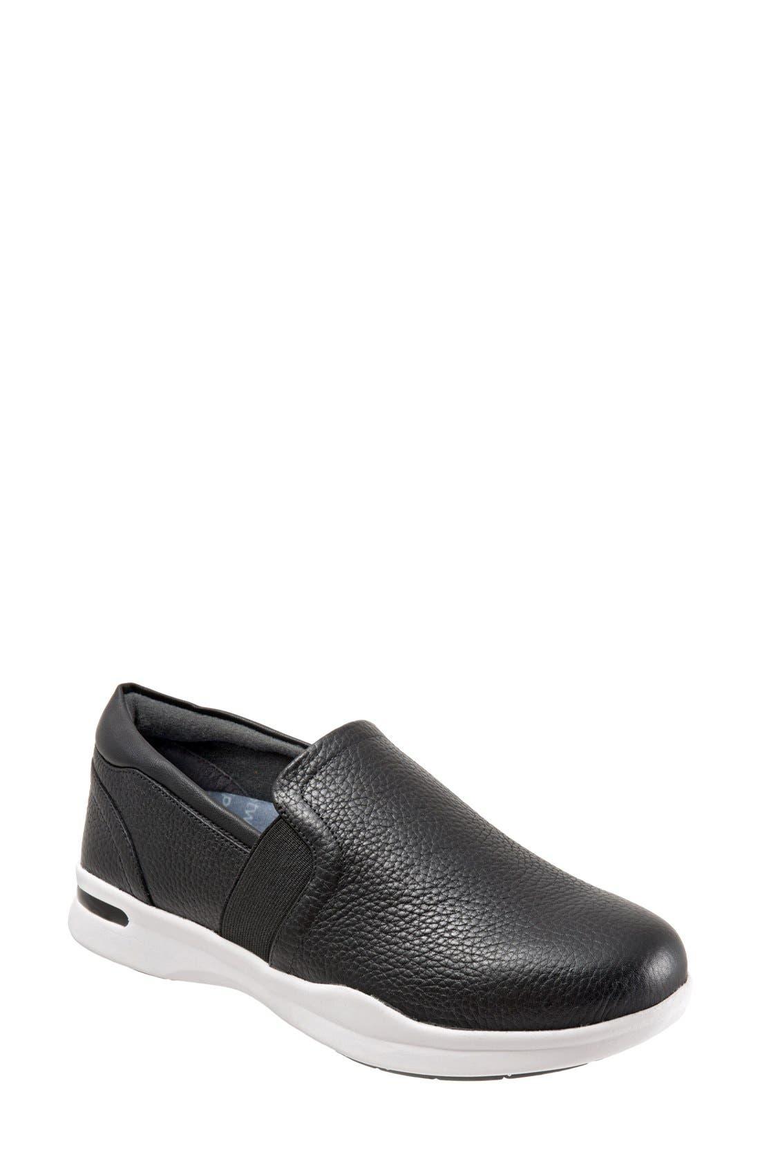SOFTWALK<SUP>®</SUP>, 'Vantage' Slip-On Sneaker, Main thumbnail 1, color, BLACK / WHITE LEATHER