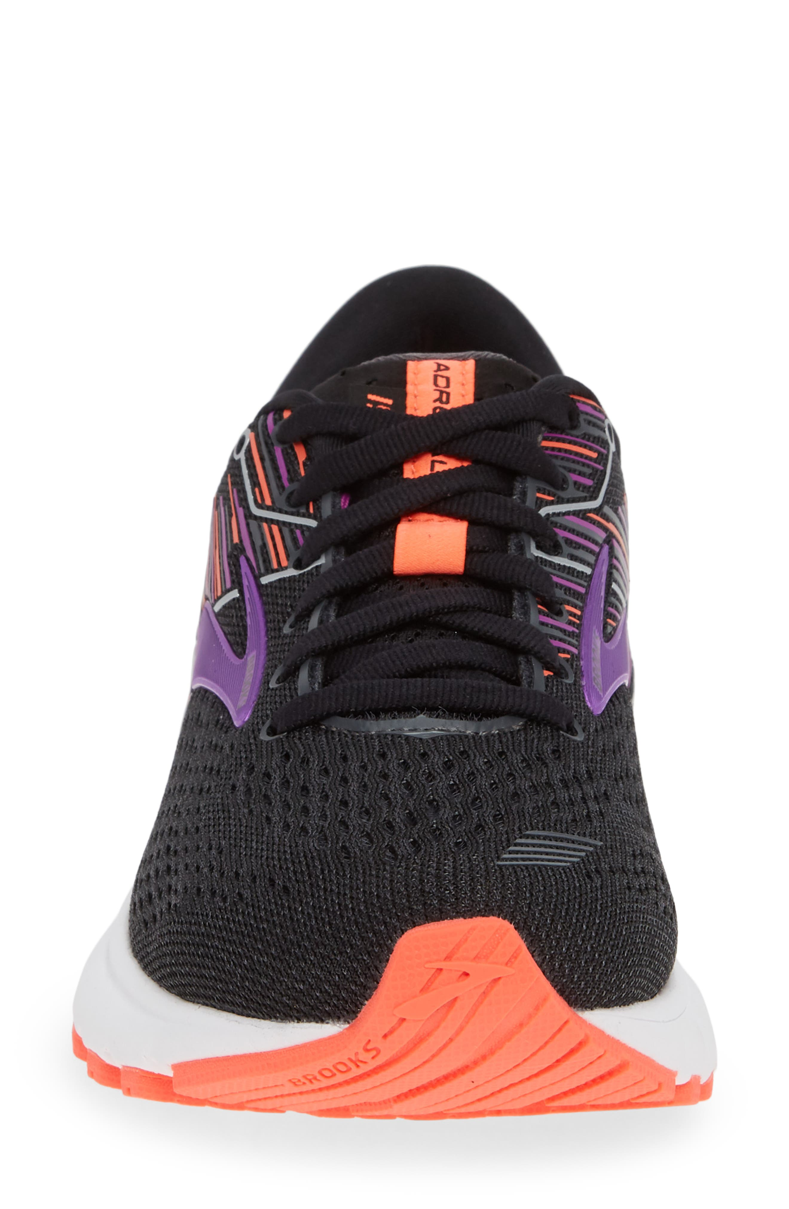BROOKS, Adrenaline GTS 19 Running Shoe, Alternate thumbnail 4, color, BLACK/ PURPLE/ CORAL