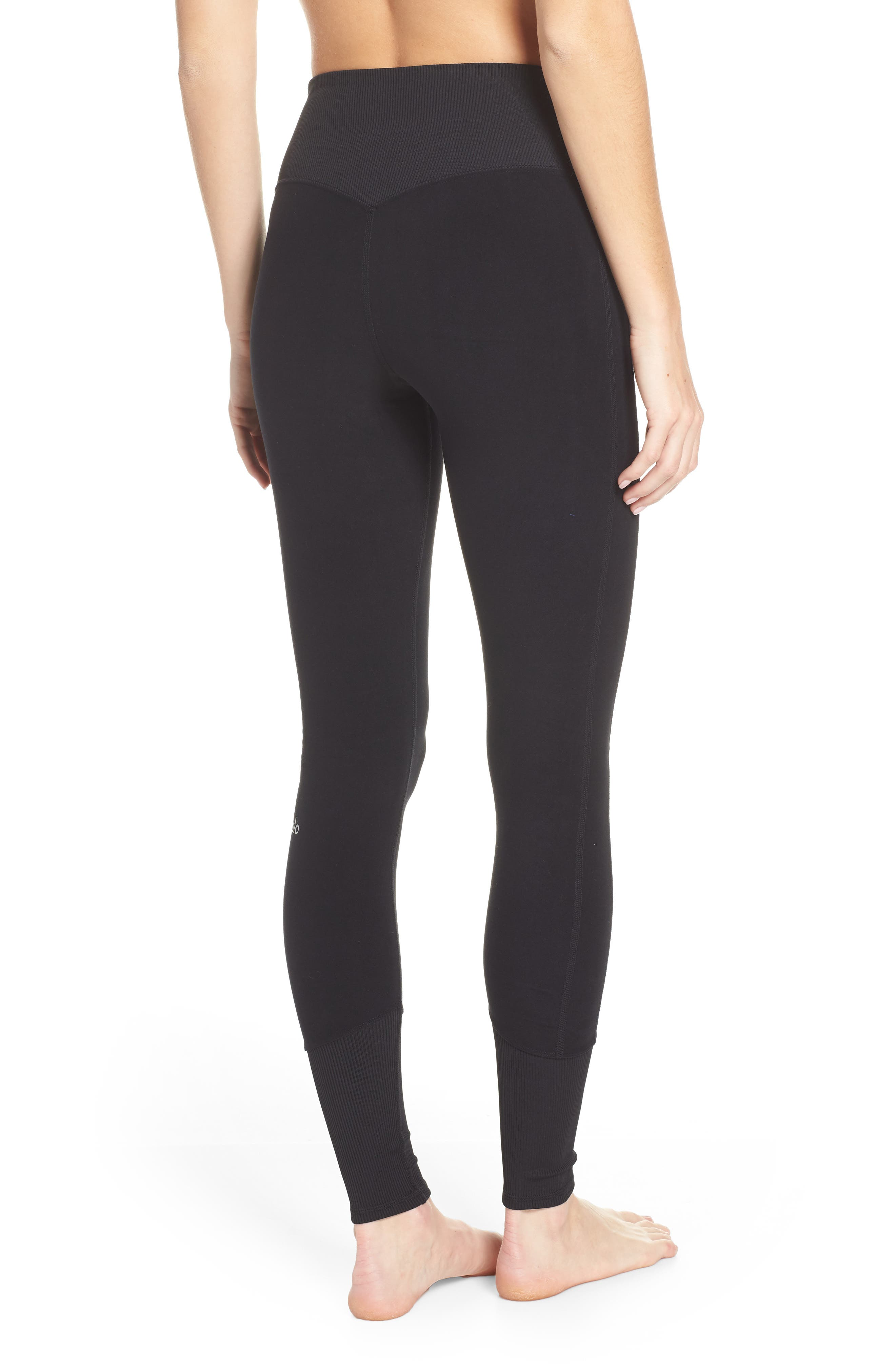 ALO, High Waist Lounge Leggings, Alternate thumbnail 2, color, BLACK