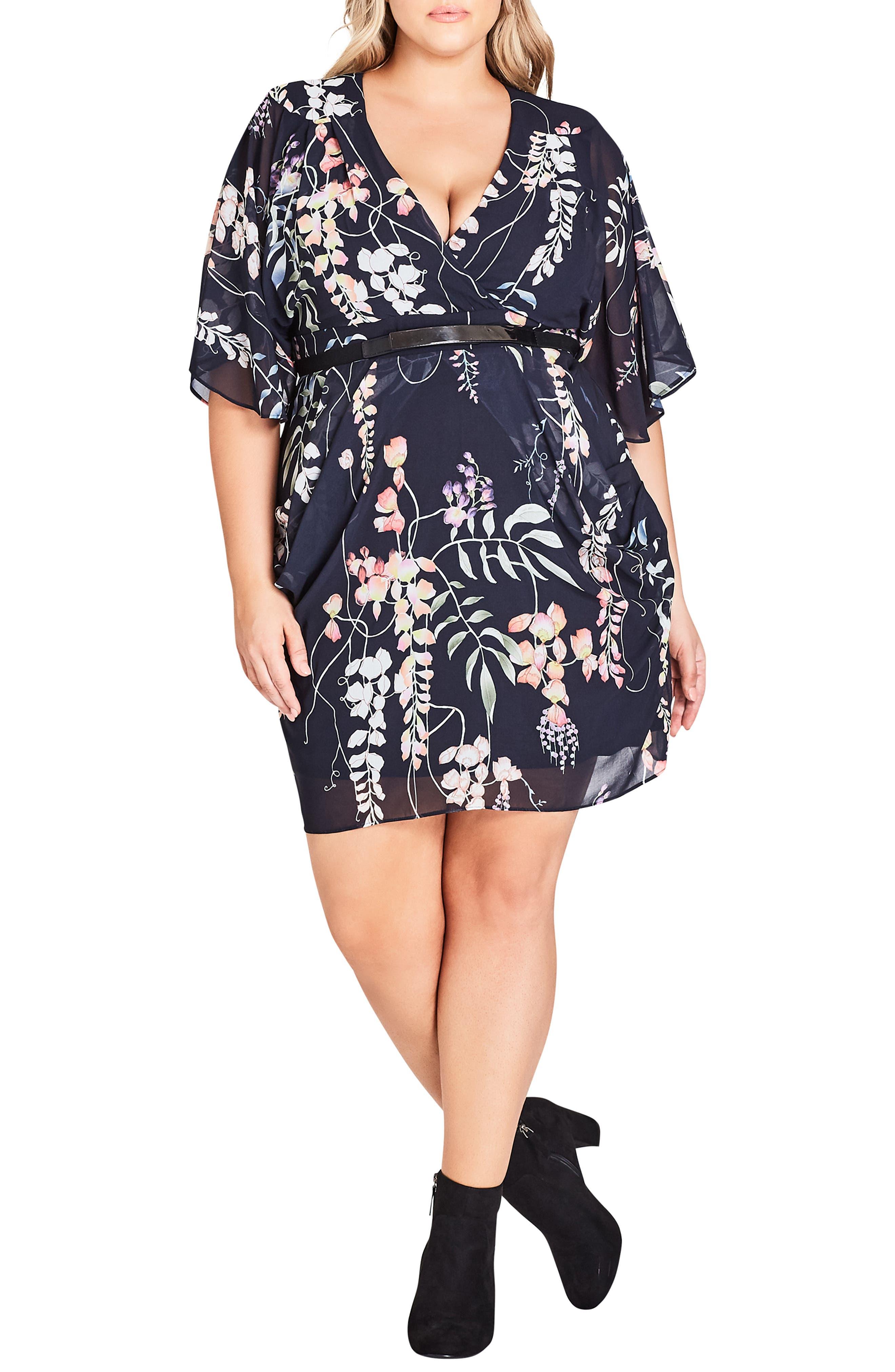 Plus Size City Chic Hothouse Flower Faux Wrap Chiffon Dress, Blue