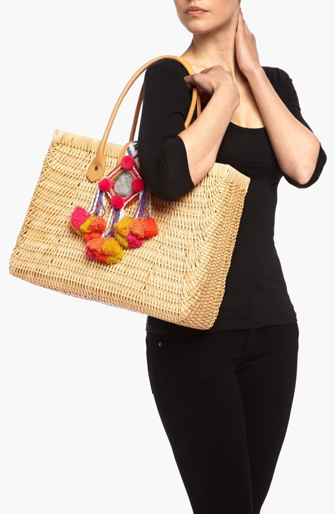 TORY BURCH, Rattan Tote, Alternate thumbnail 4, color, 282