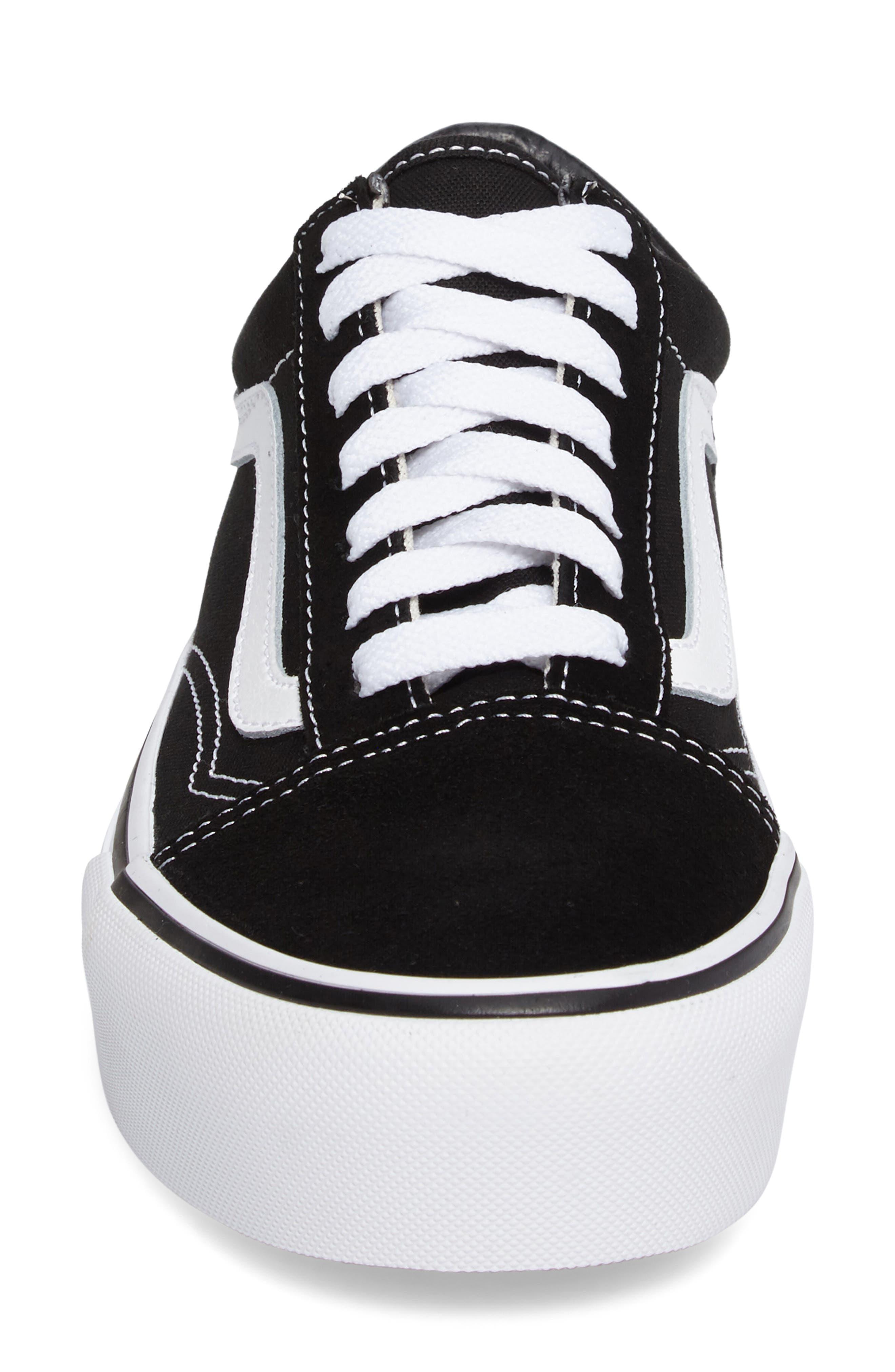 VANS, Old Skool Platform Sneaker, Alternate thumbnail 4, color, BLACK/ WHITE