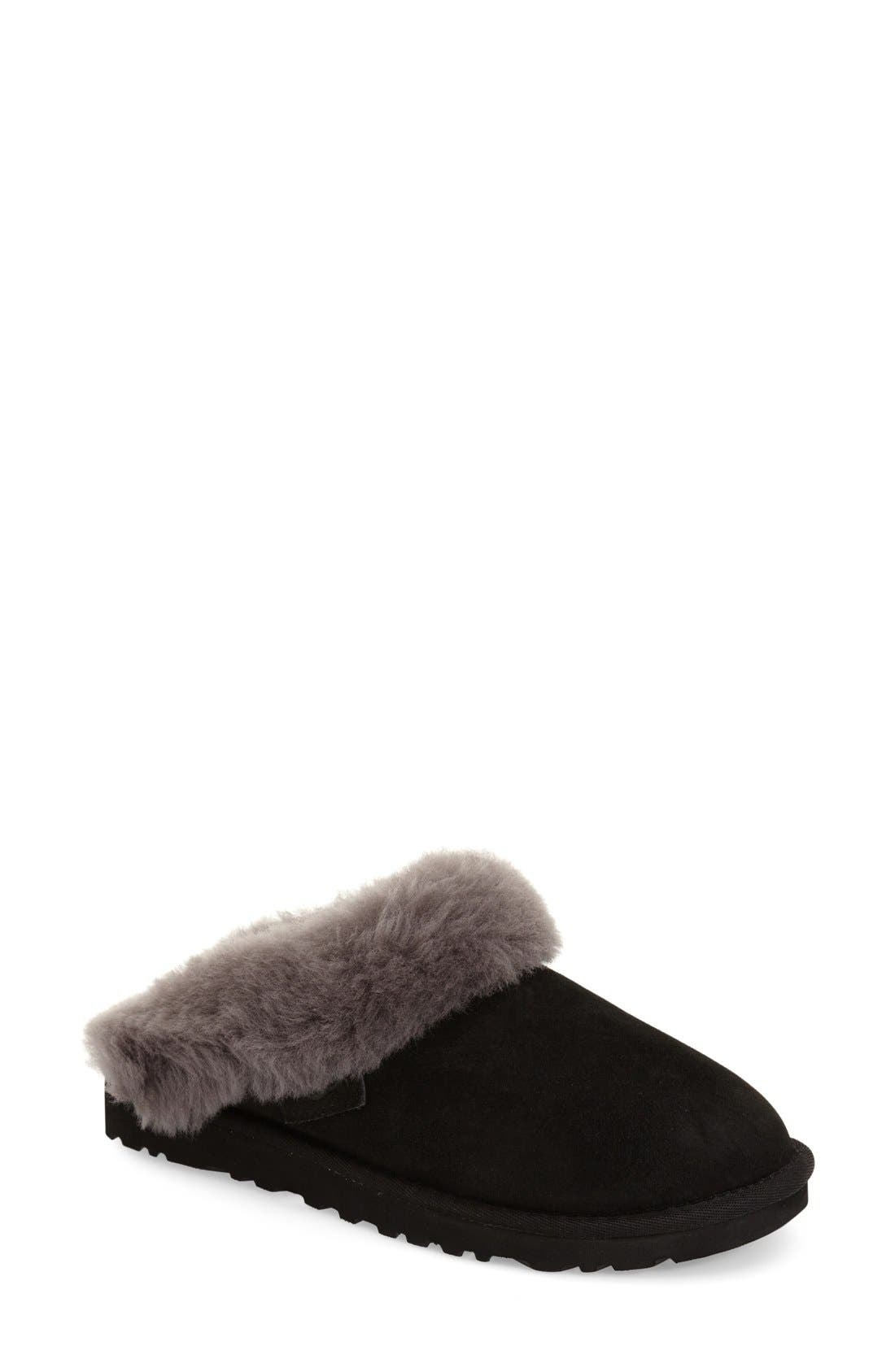 UGG<SUP>®</SUP> 'Cluggette' Genuine Shearling Indoor/Outdoor Slipper, Main, color, 001
