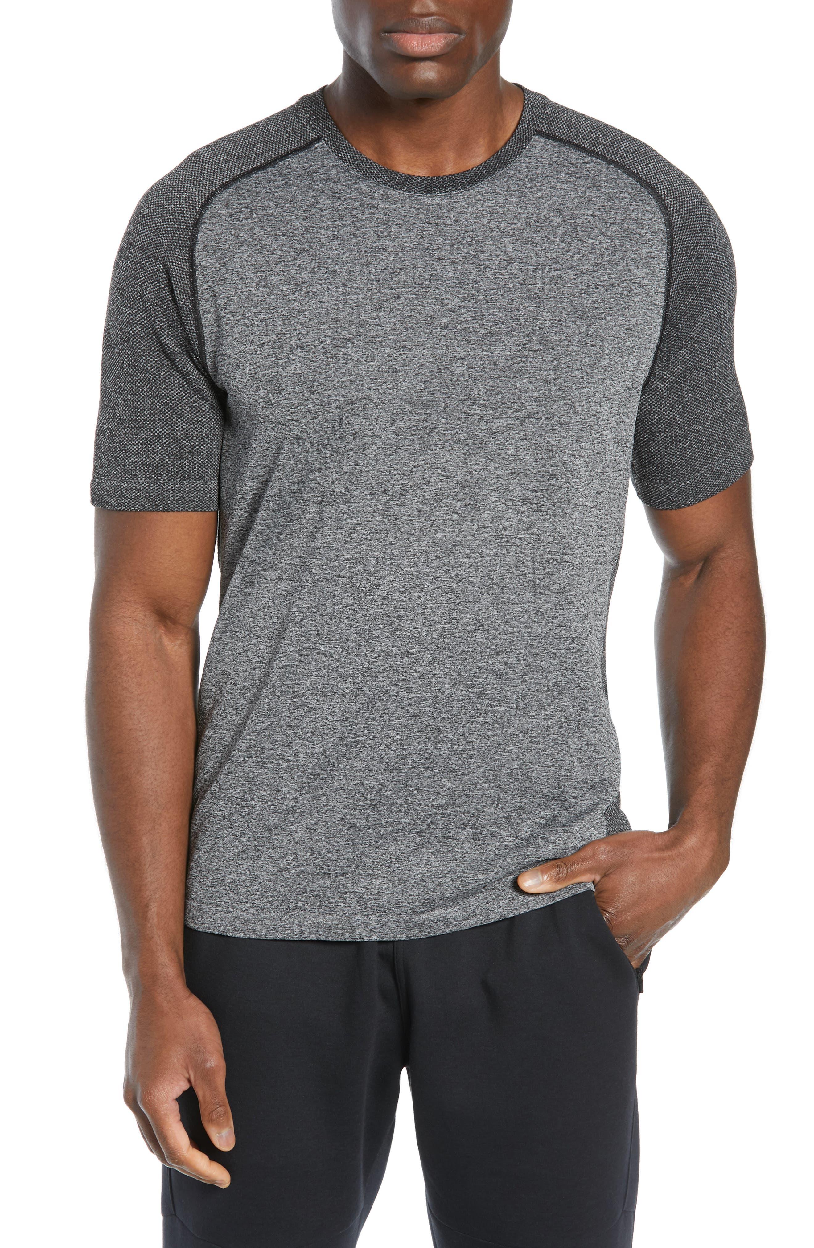 ZELLA Seamless Raglan T-Shirt, Main, color, BLACK OXIDE MELANGE