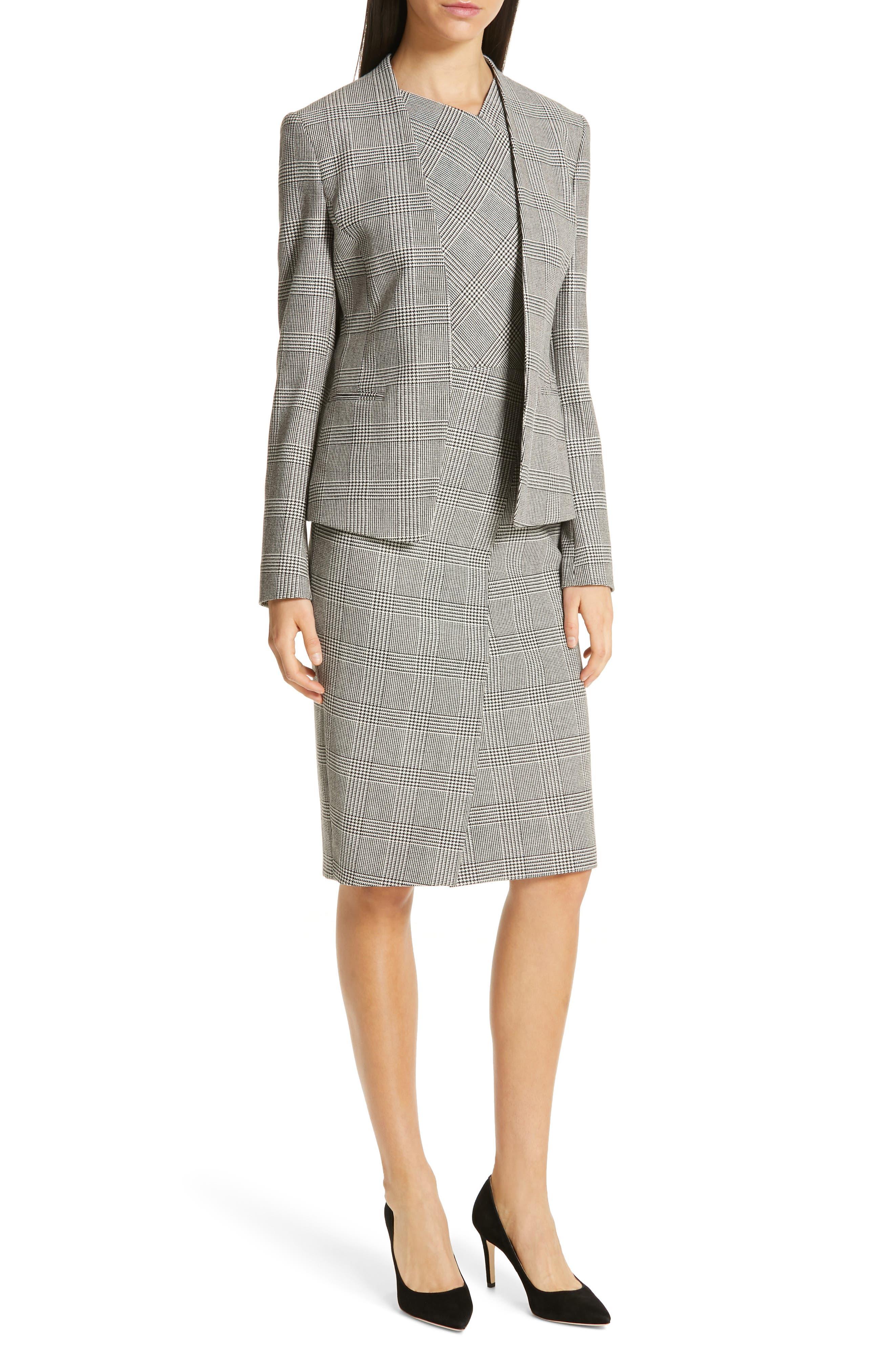 BOSS, Dechesta Glen Plaid Sheath Dress, Alternate thumbnail 8, color, 020