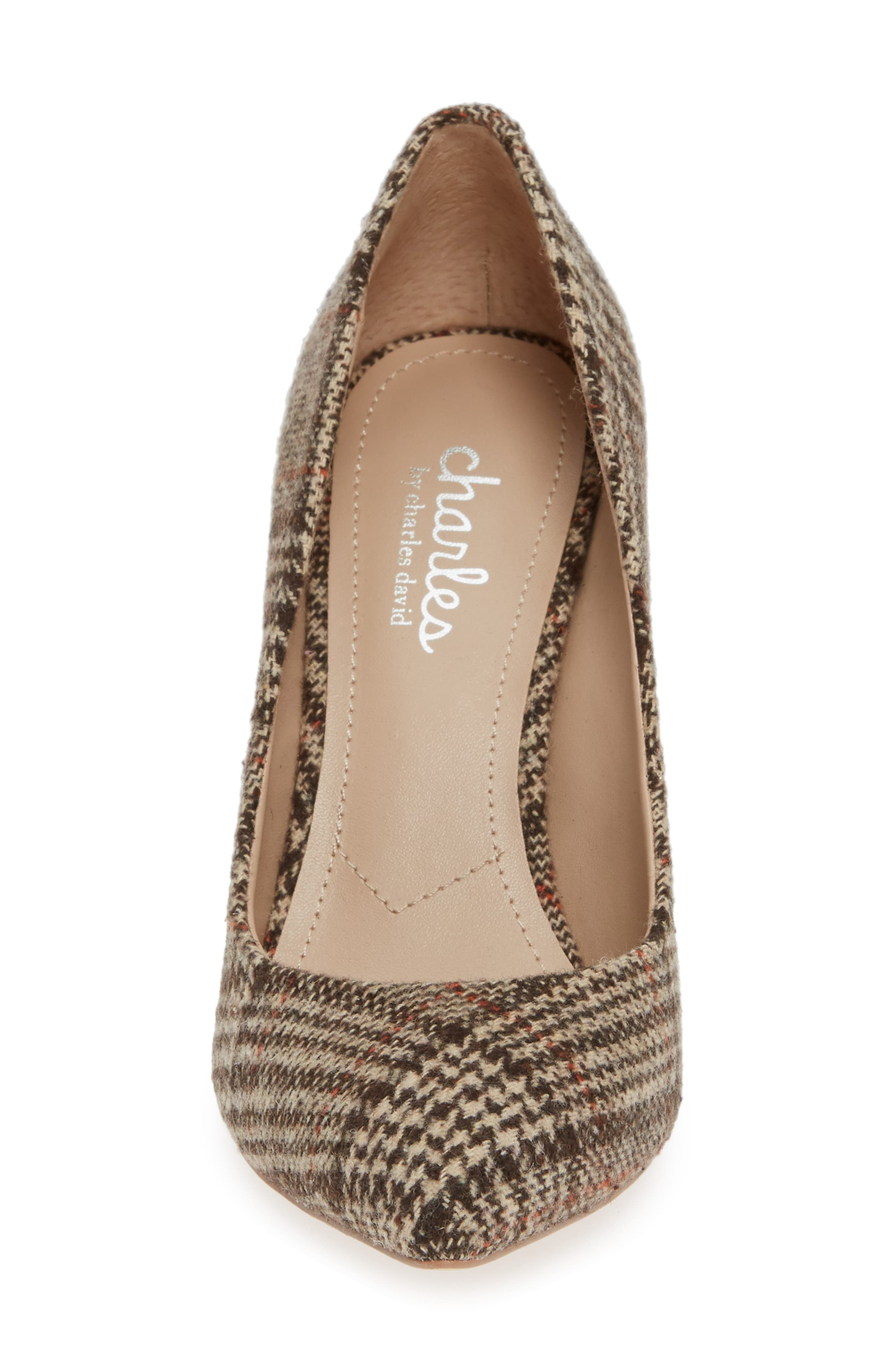 CHARLES BY CHARLES DAVID, Maxx Pointy Toe Pump, Alternate thumbnail 4, color, BROWN PLAID FABRIC