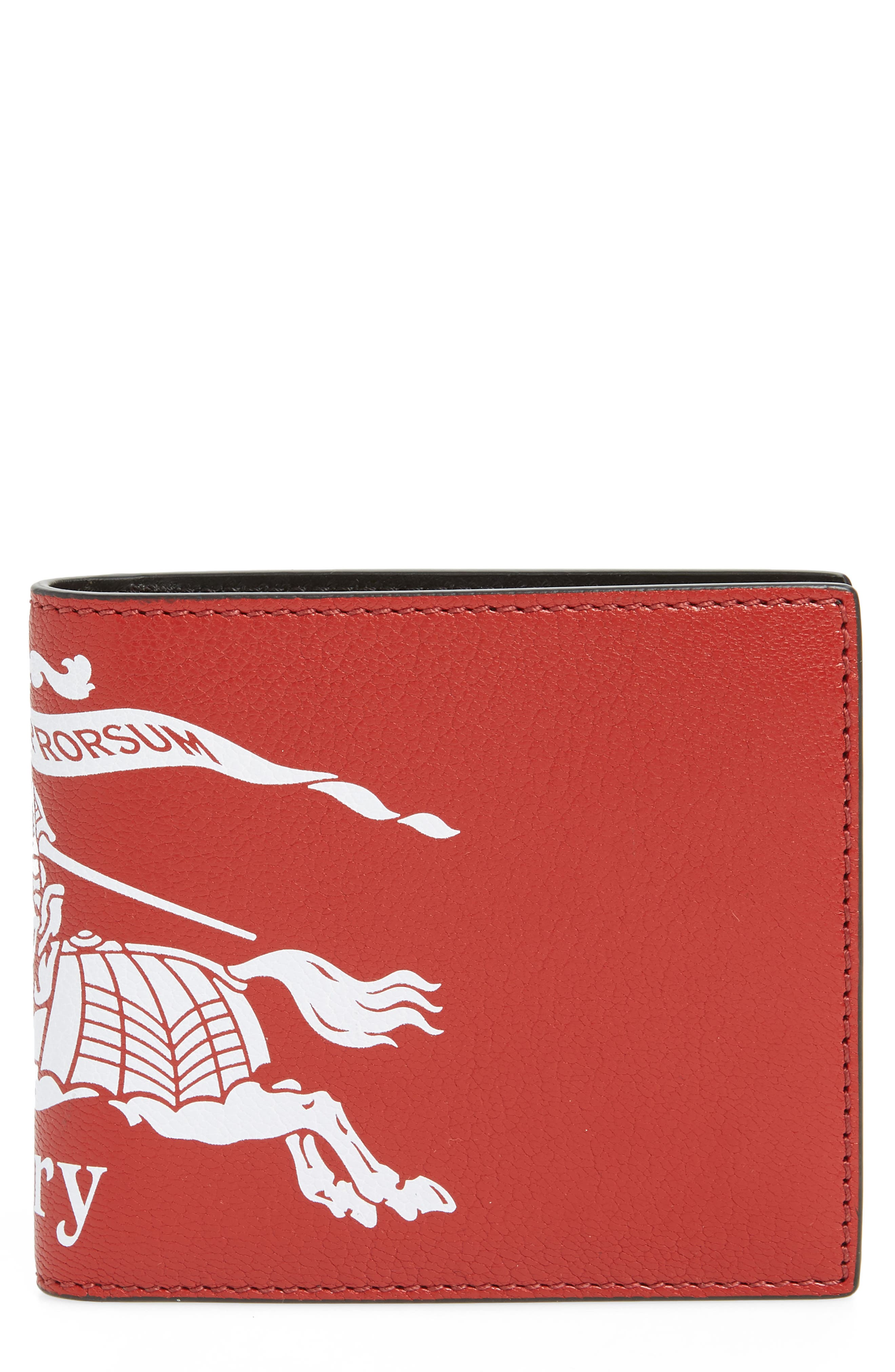 BURBERRY Crest Print Leather Billfold, Main, color, RUST RED/BLACK