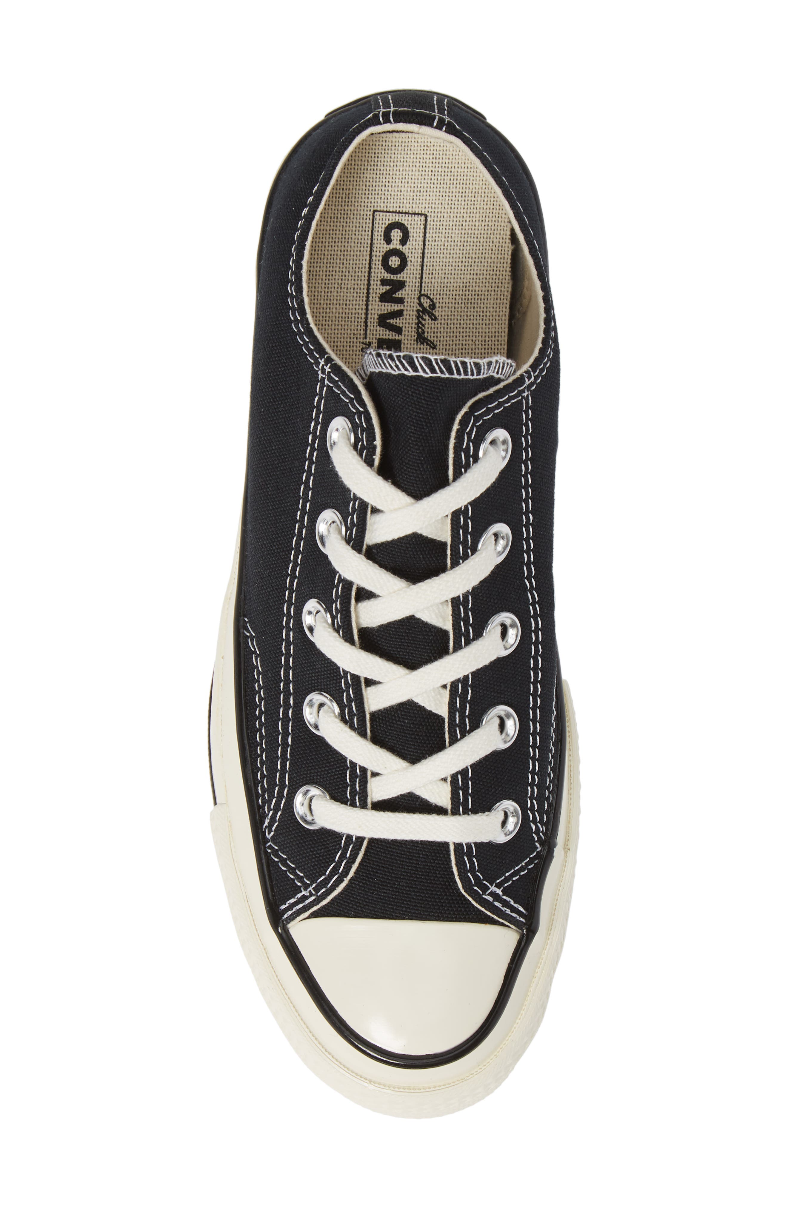 CONVERSE, Chuck Taylor<sup>®</sup> All Star<sup>®</sup> Chuck 70 Ox Sneaker, Alternate thumbnail 5, color, BLACK/ BLACK/ EGRET