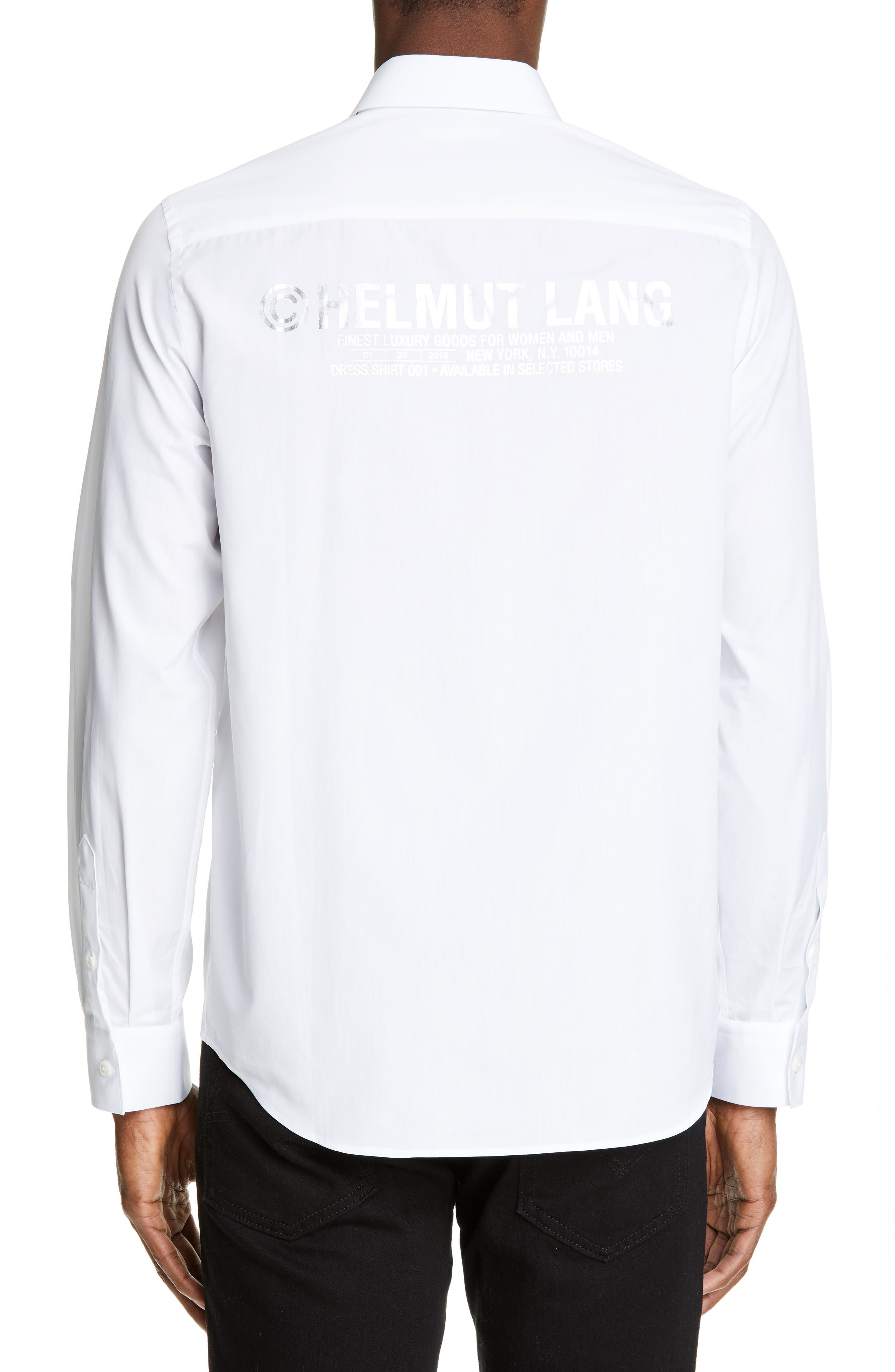 HELMUT LANG, Logo Print Dress Shirt, Alternate thumbnail 3, color, WHITE/SILVER