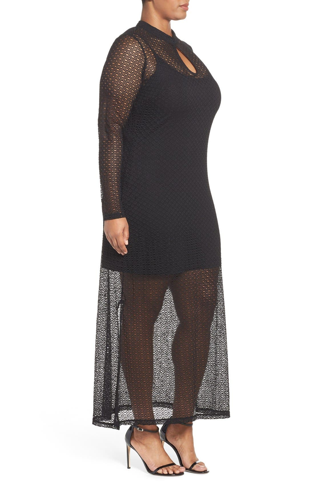CITY CHIC, Lady Luxe Maxi Dress, Alternate thumbnail 7, color, 001