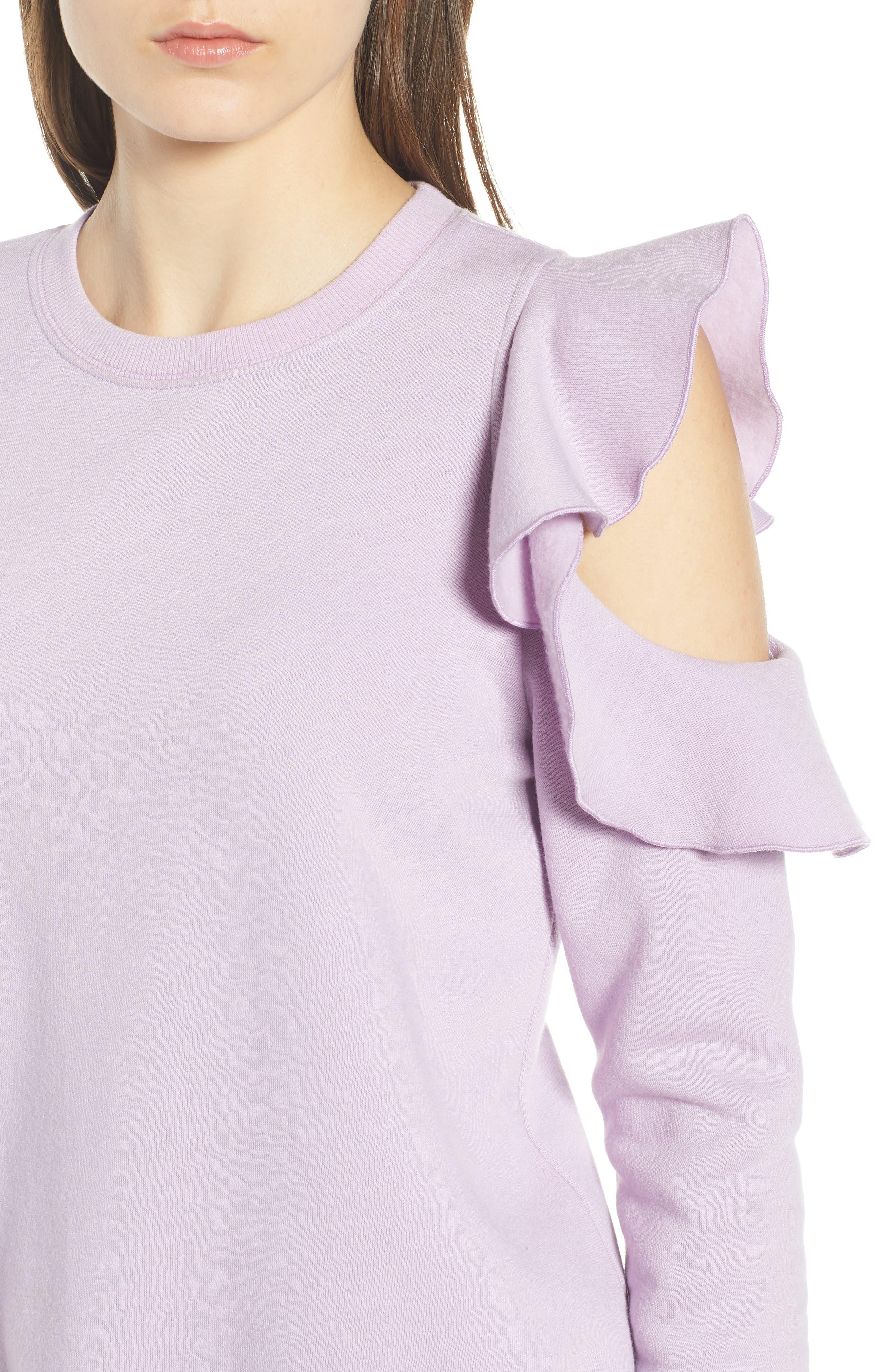 REBECCA MINKOFF, Gracie Cold Shoulder Sweatshirt, Alternate thumbnail 5, color, 502