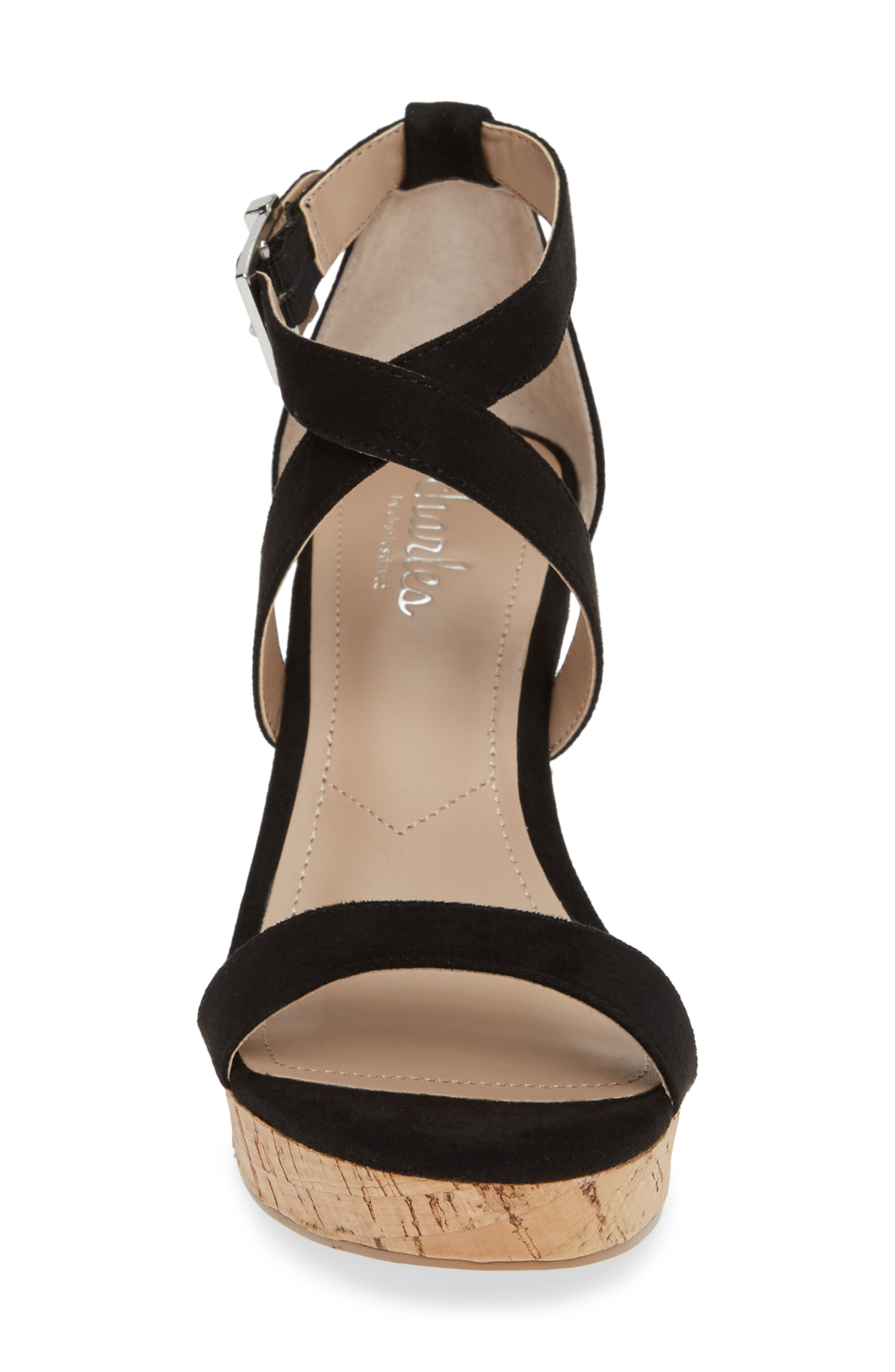 CHARLES BY CHARLES DAVID, Launch Wedge Sandal, Alternate thumbnail 4, color, BLACK FABRIC