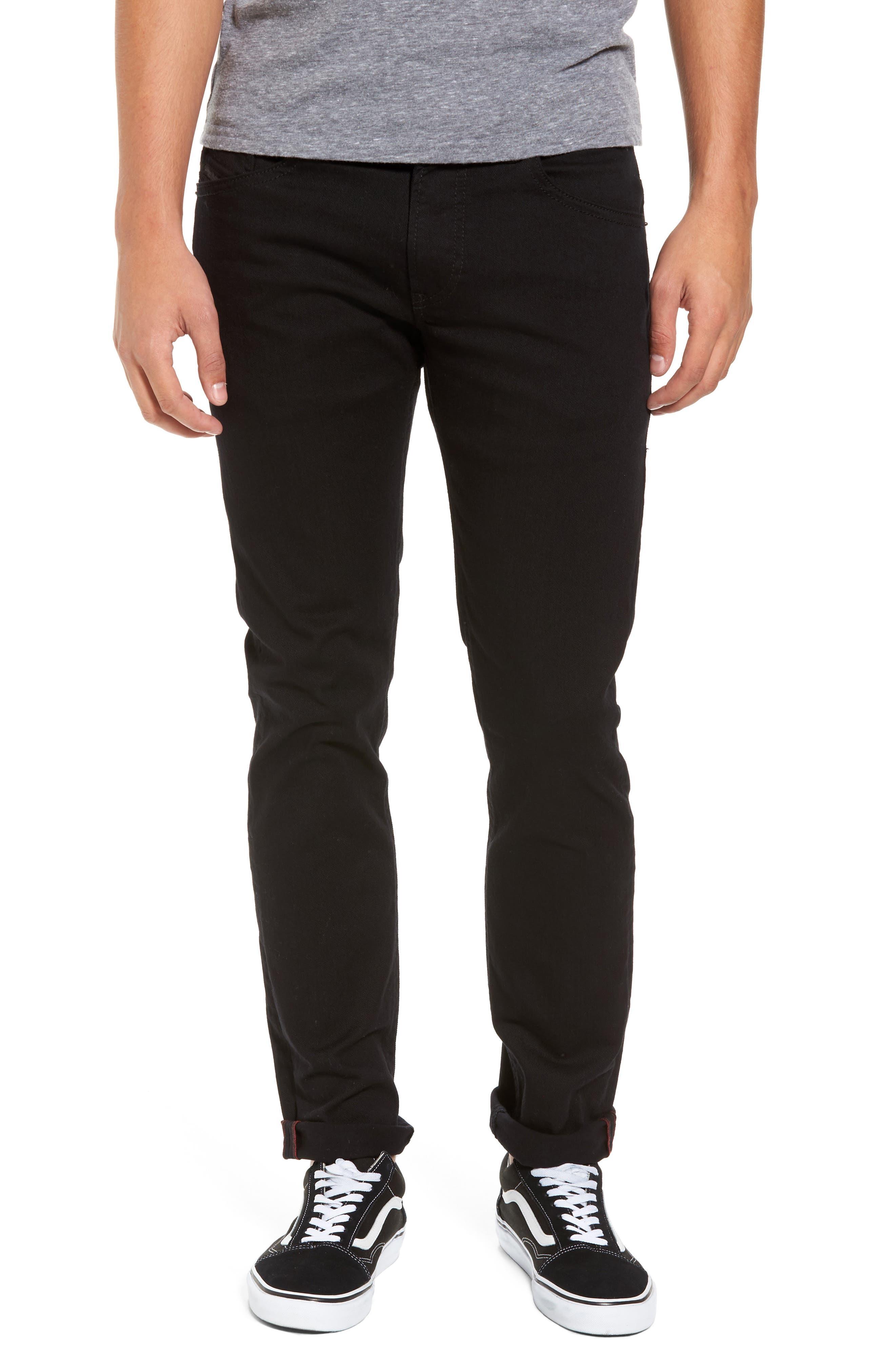 DIESEL<SUP>®</SUP> Thommer Slim Fit Jeans, Main, color, BLACK/ DENIM