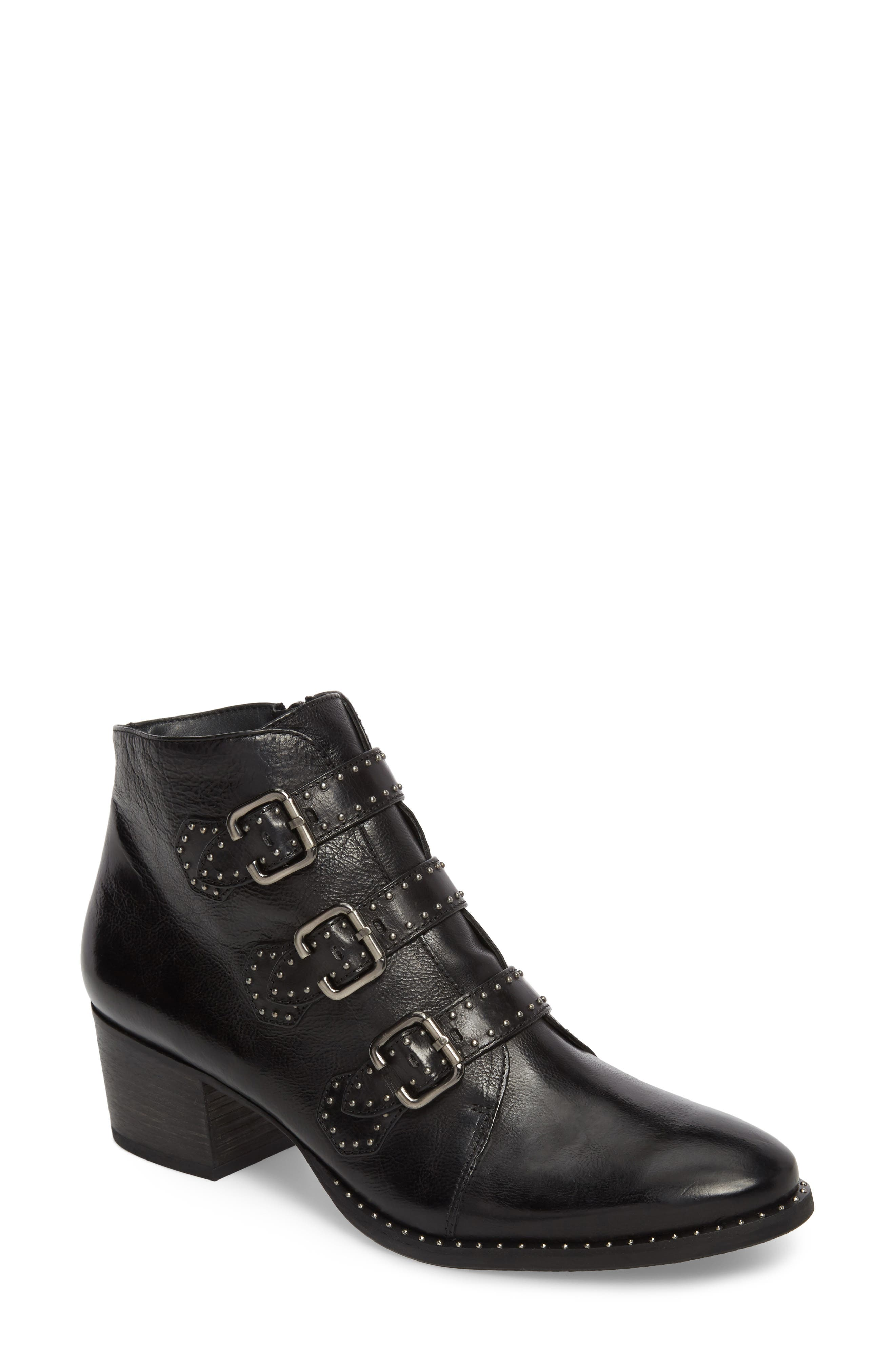 PAUL GREEN, Soho Bootie, Main thumbnail 1, color, BLACK LEATHER