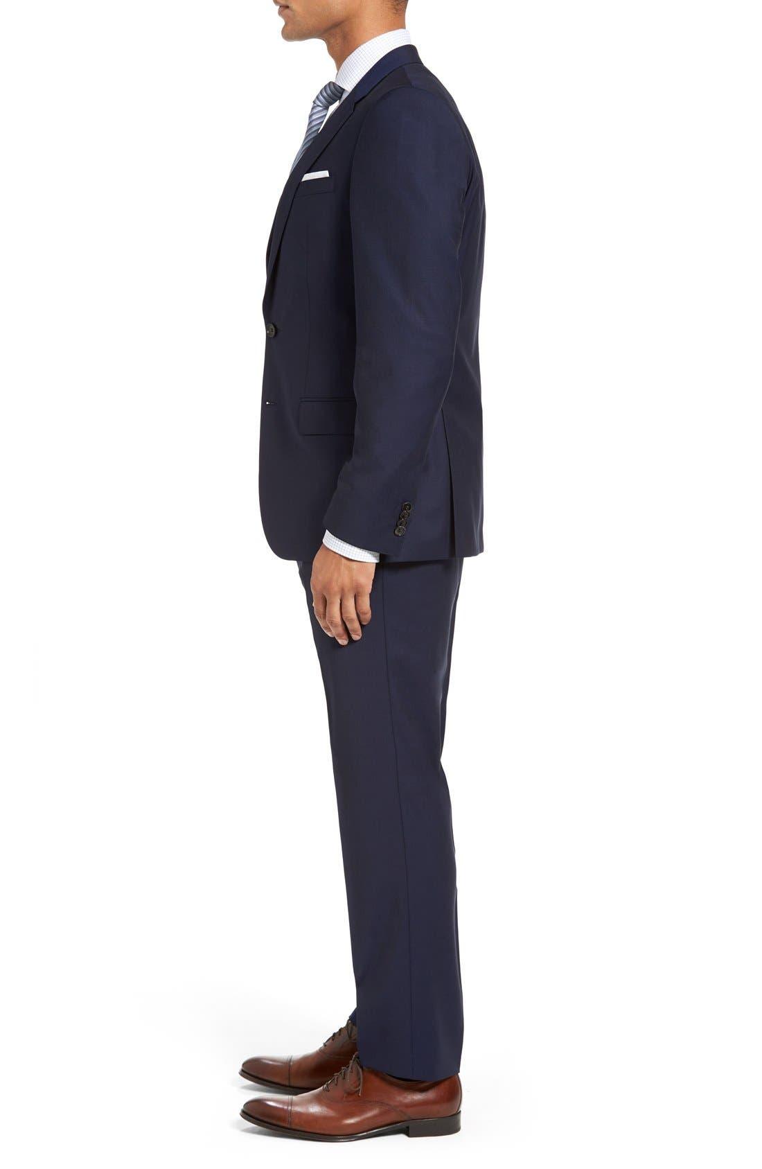 BOSS, Huge/Genius Trim Fit Navy Wool Suit, Alternate thumbnail 3, color, 410