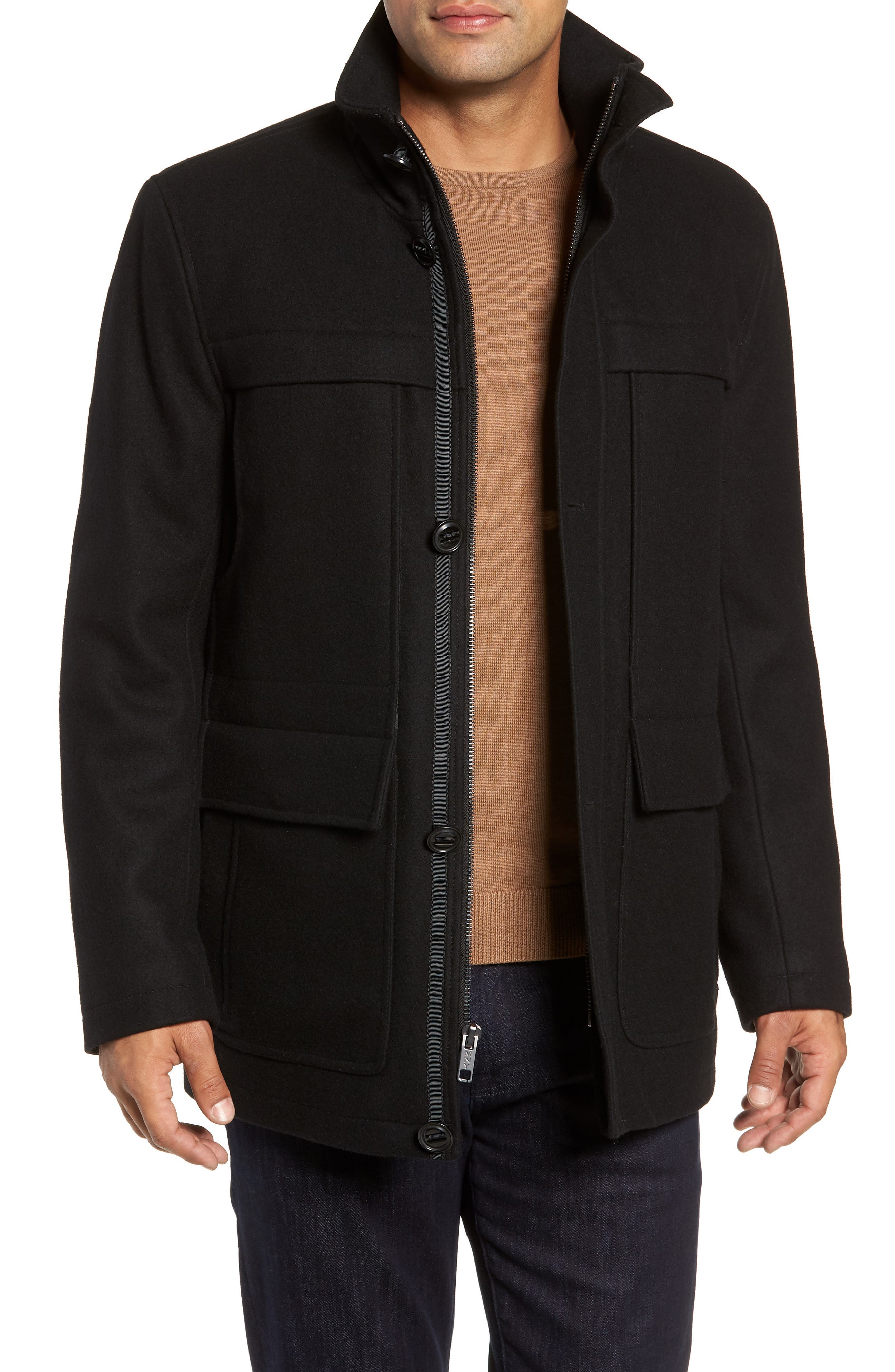 MARC NEW YORK Brantley Wool Blend Car Coat, Main, color, 001