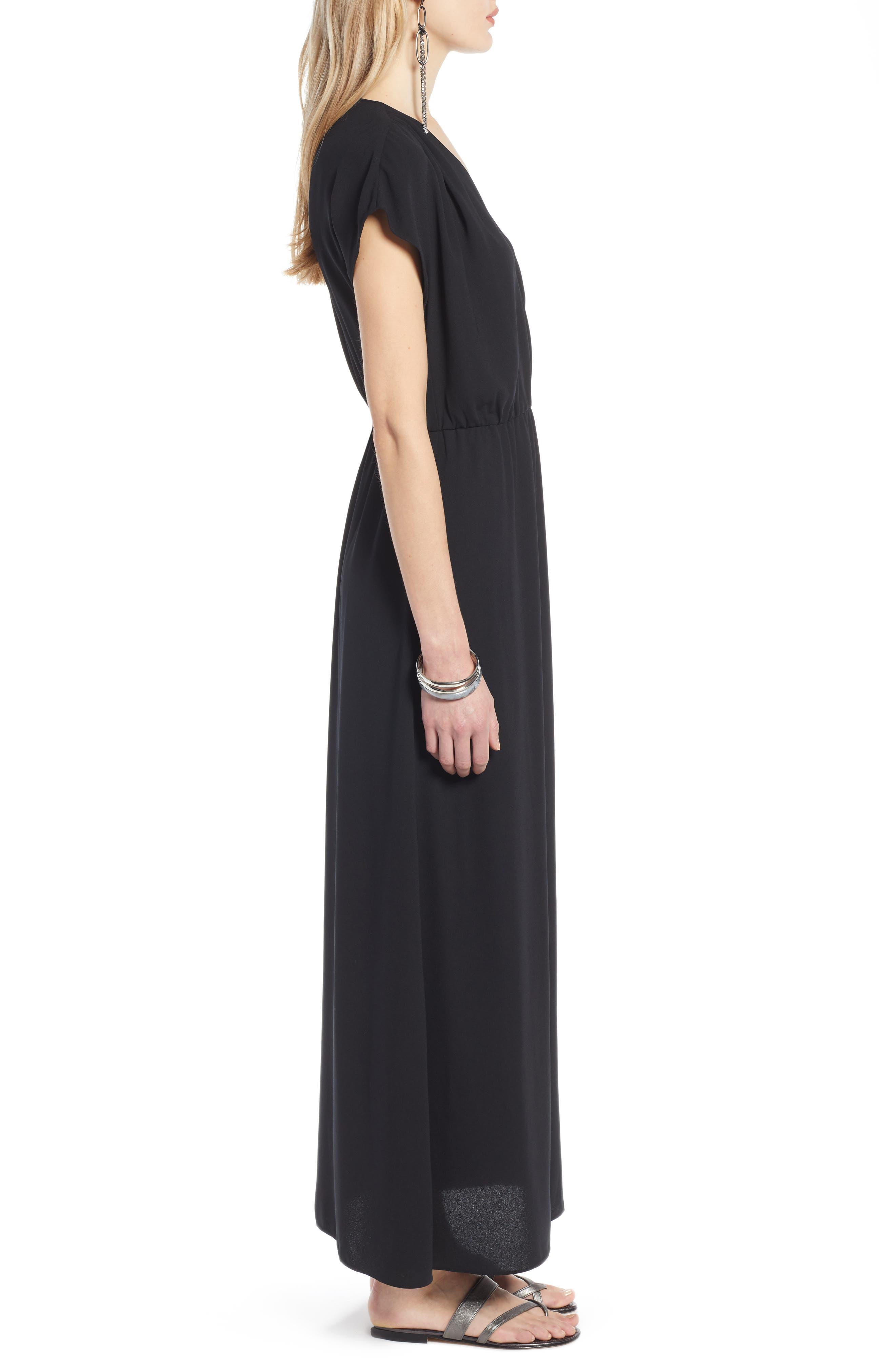 HALOGEN<SUP>®</SUP>, V-Neck Maxi Dress, Alternate thumbnail 4, color, BLACK