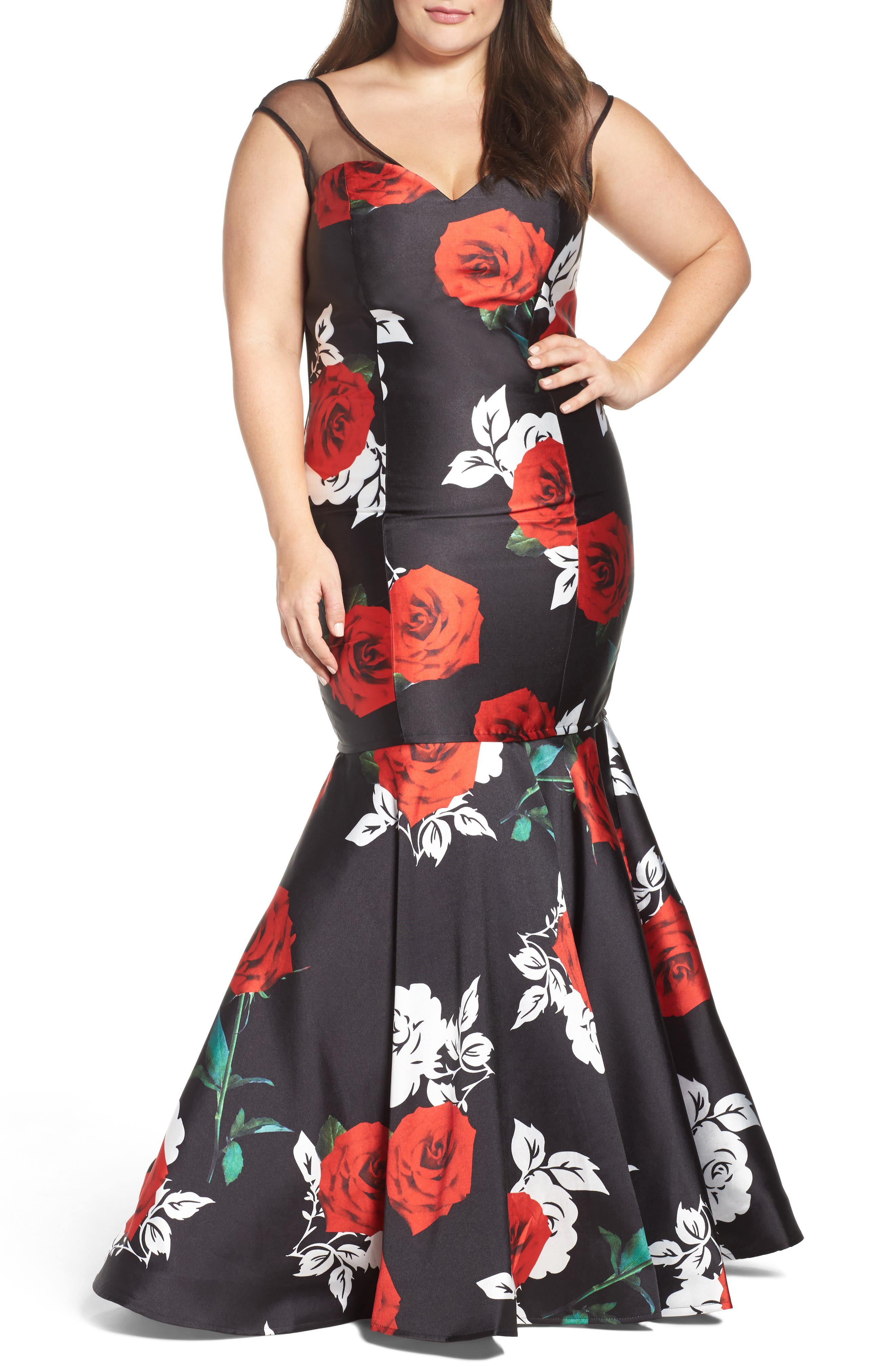 Plus Size MAC Duggal Rose Print Mermaid Gown