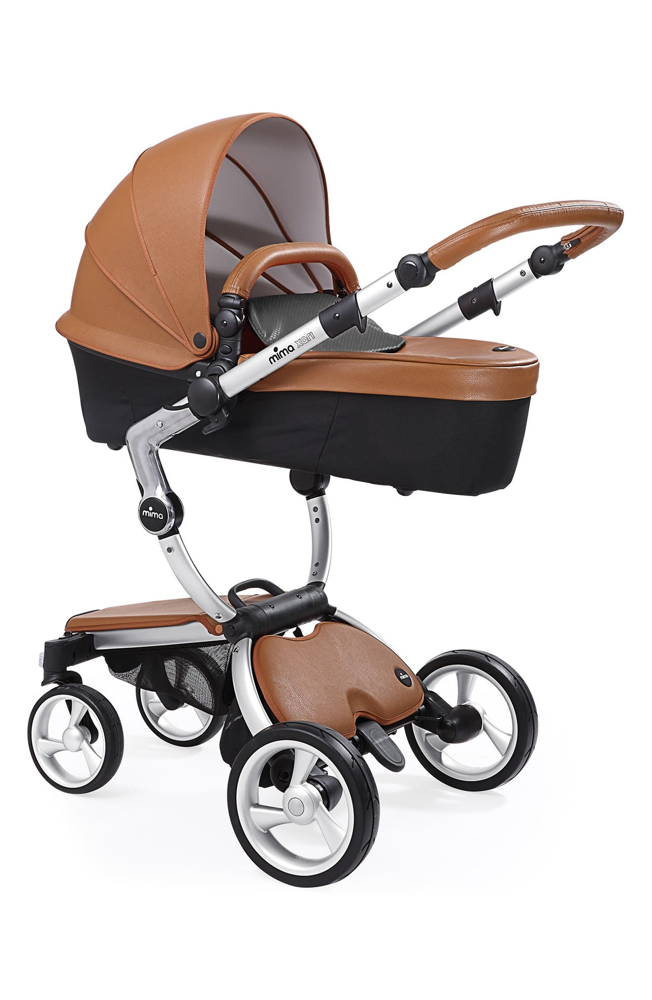 MIMA, Xari Aluminum Chassis Stroller with Reversible Reclining Seat & Carrycot, Alternate thumbnail 2, color, ALUM/ CAMEL/ BLACK