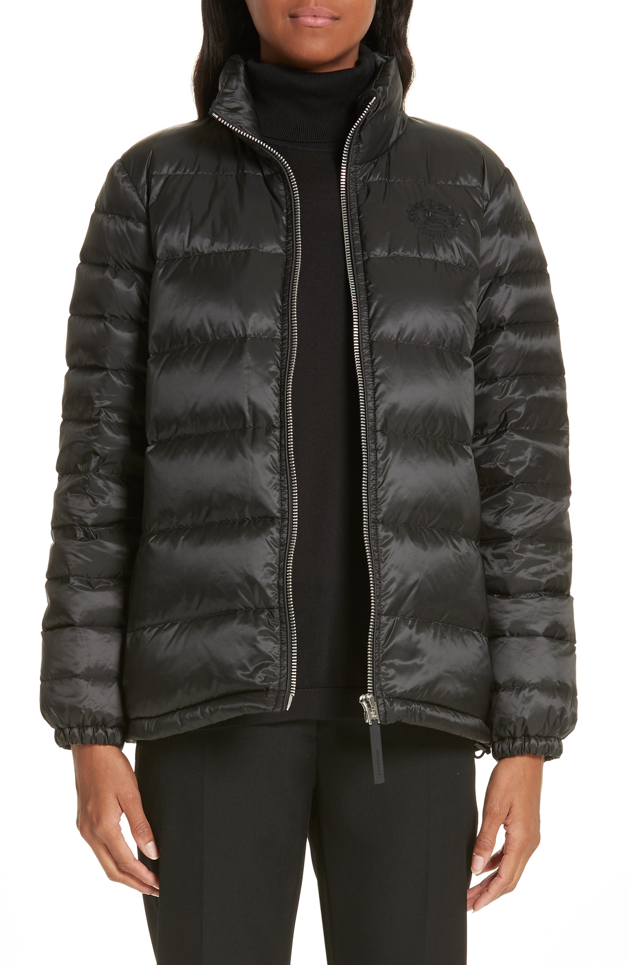 BURBERRY, Smethwick Archive Logo Quilted Down Puffer Coat, Main thumbnail 1, color, BLACK