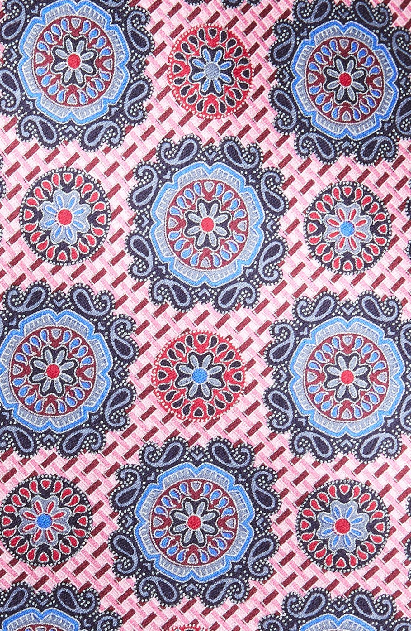 ERMENEGILDO ZEGNA, Medallion Silk Tie, Alternate thumbnail 2, color, PINK