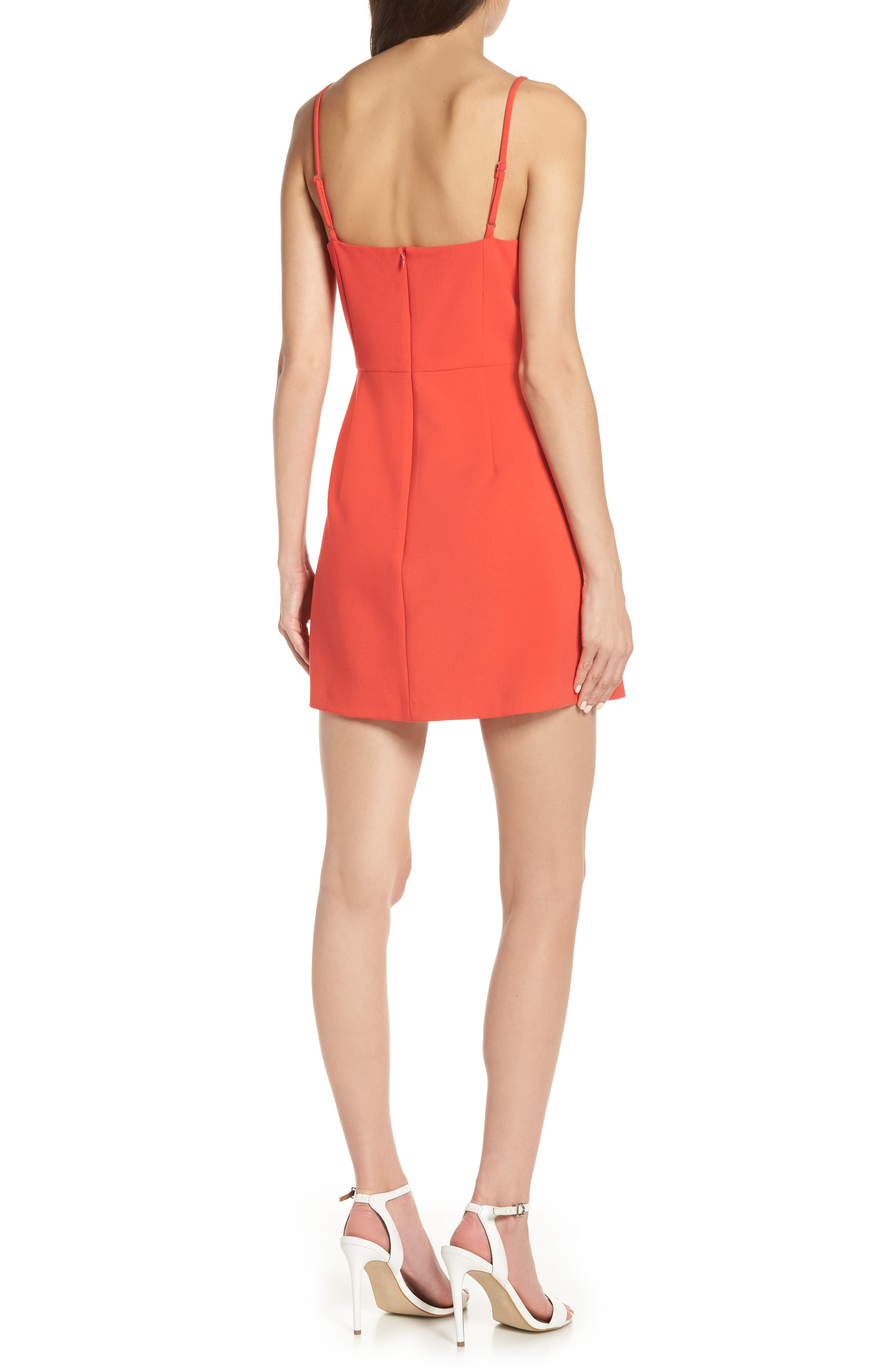 FRENCH CONNECTION, Whisper Light Sweetheart Minidress, Alternate thumbnail 2, color, FIRE CORAL